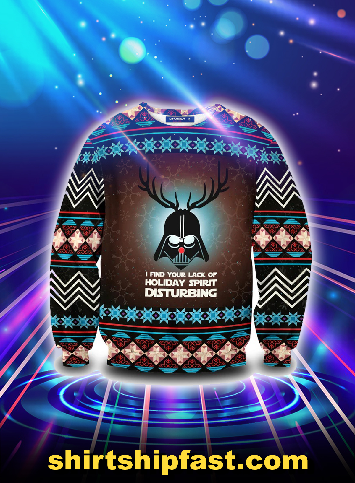 Darth vader deer I find your lack of holiday spirit disturbing ugly christmas sweater - Picture 1
