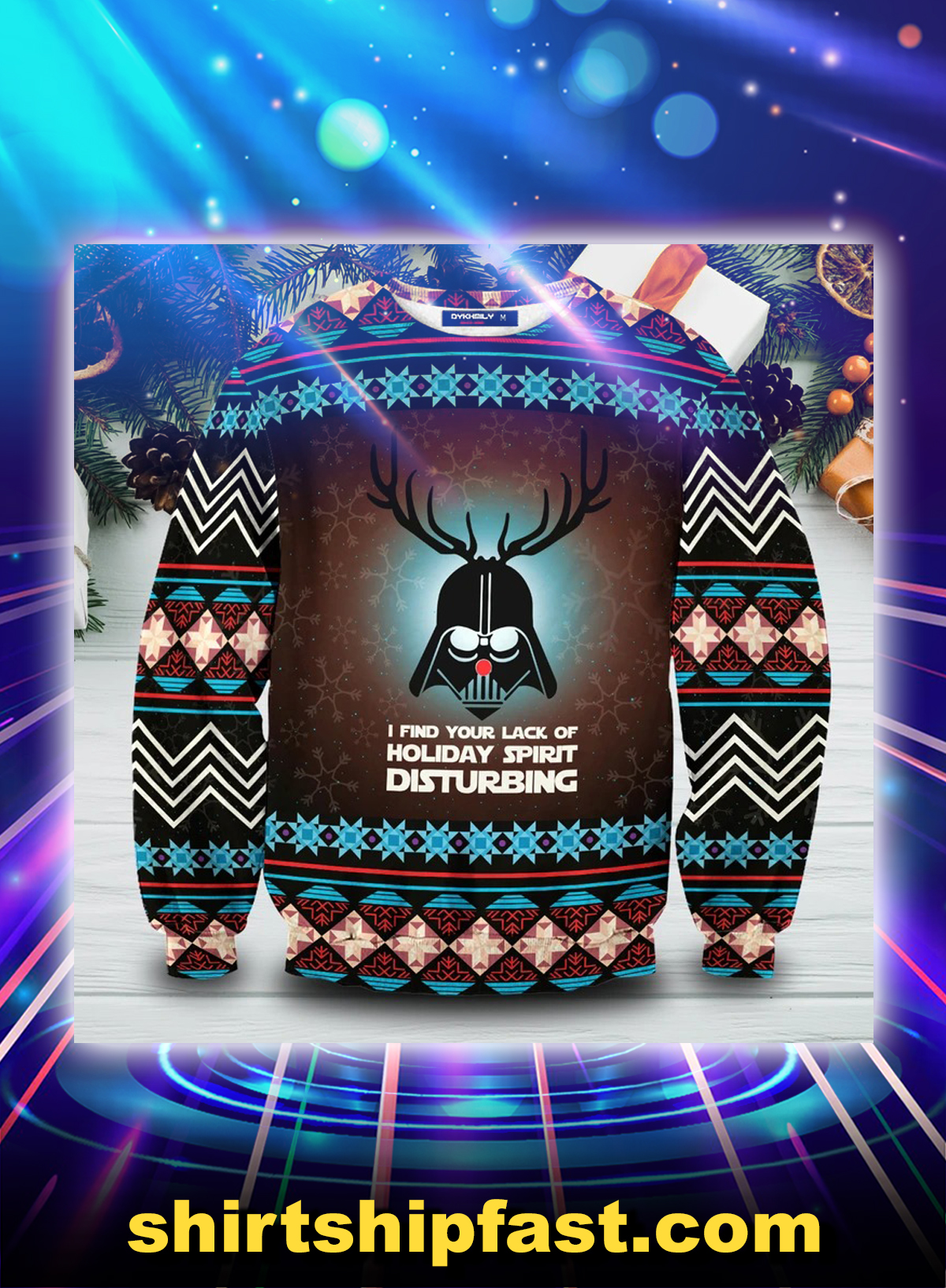 Darth vader deer I find your lack of holiday spirit disturbing ugly christmas sweater