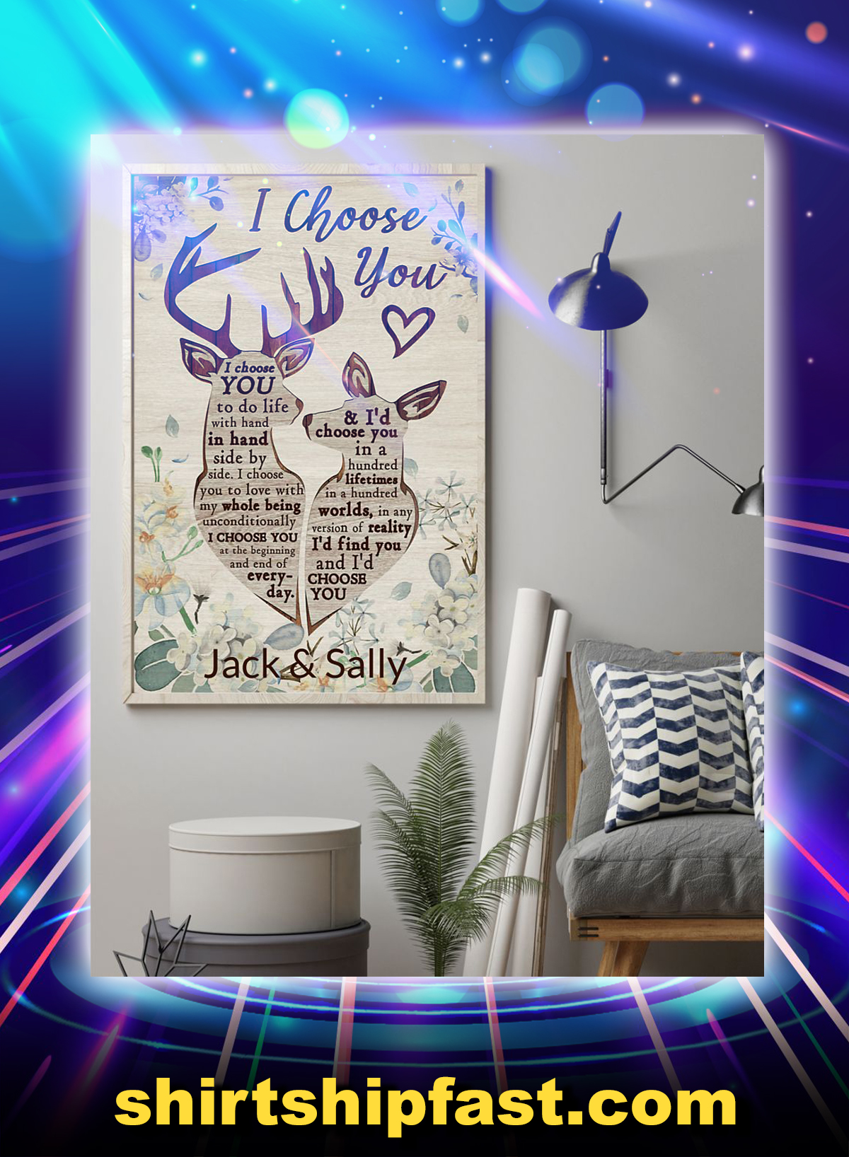 Deer I choose you personalized custom name poster - Picture 1