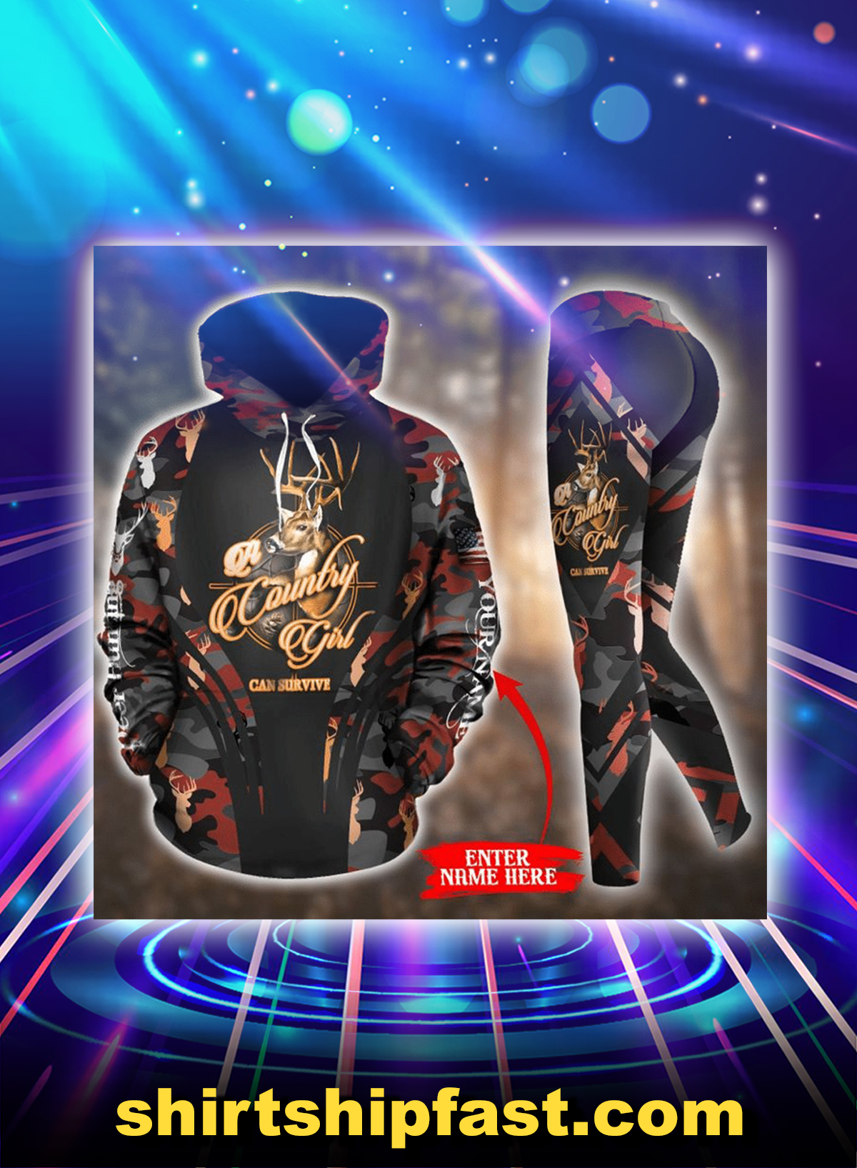 Deer hunting a country girl can survive personalized custom name 3d hoodie and legging - Picture 1