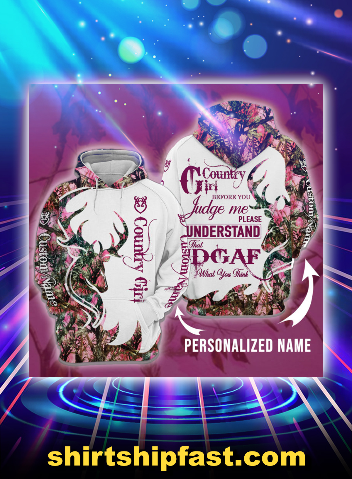 Deer hunting country girl before you judge me please understand personalized custom name 3d hoodie - Picture 1