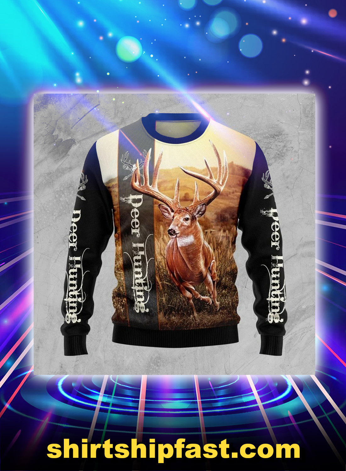 Deer hunting ugly christmas sweater - Picture 1