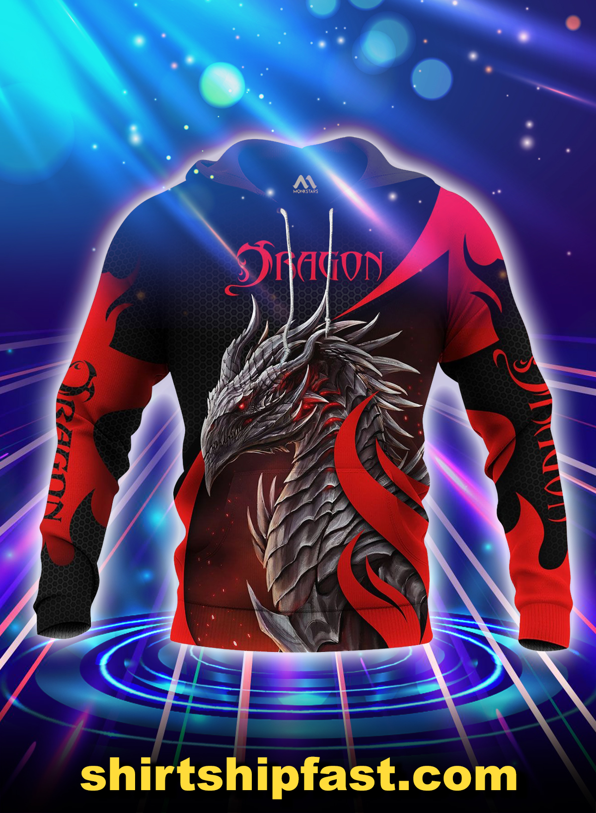 Dragon all over printed hoodie - Picture 1