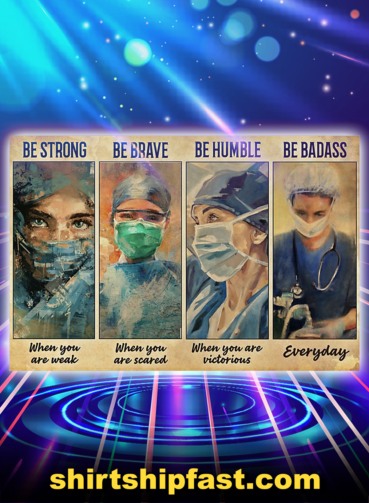 Female physicians be strong be brave be humble be badass poster - A4
