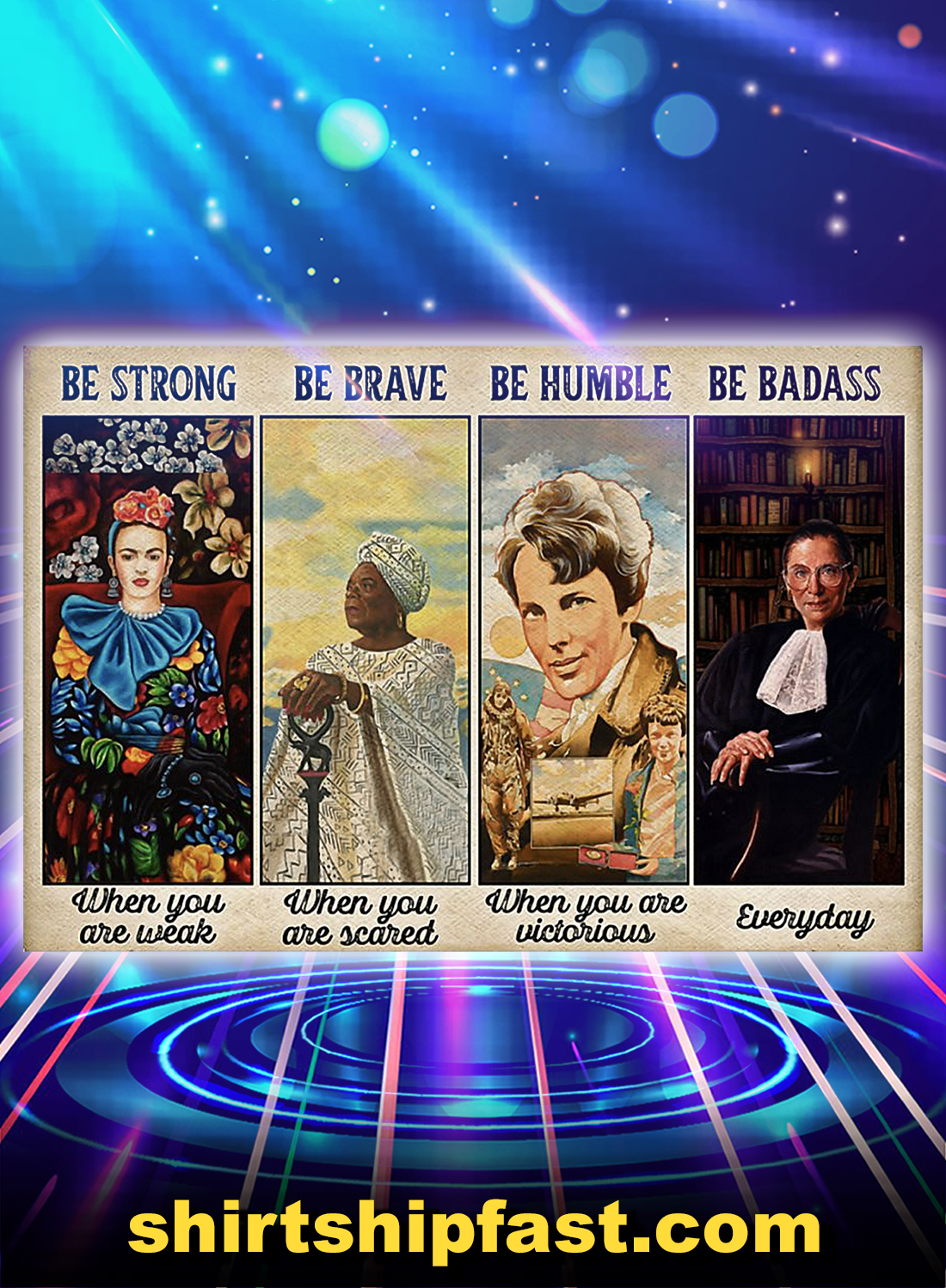 Feminist Frida Kahlo RBG be strong be brave be humble be badass poster - A4
