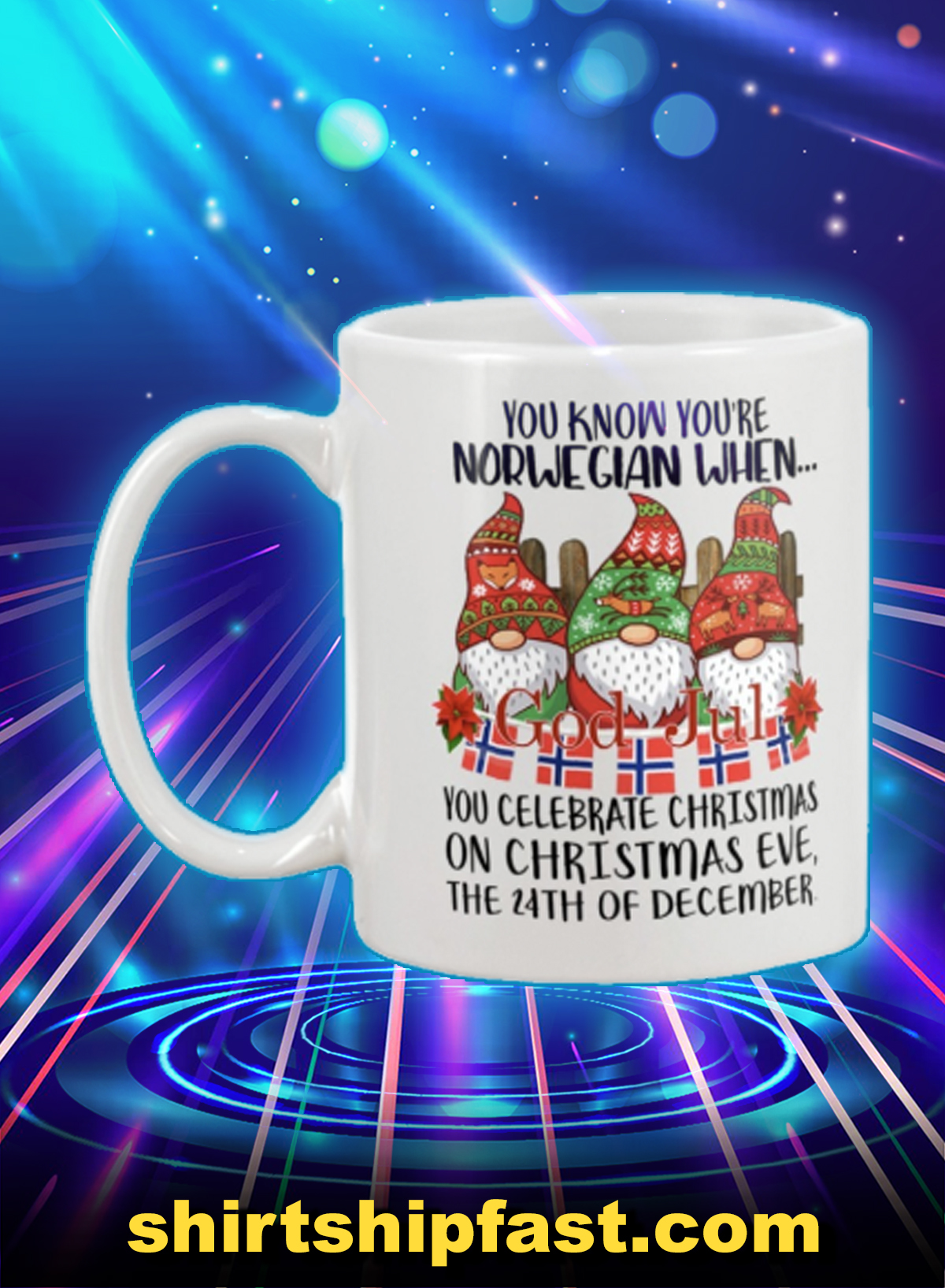 God jul you know you're norwegian when you celebrate christmas mug - Picture 1