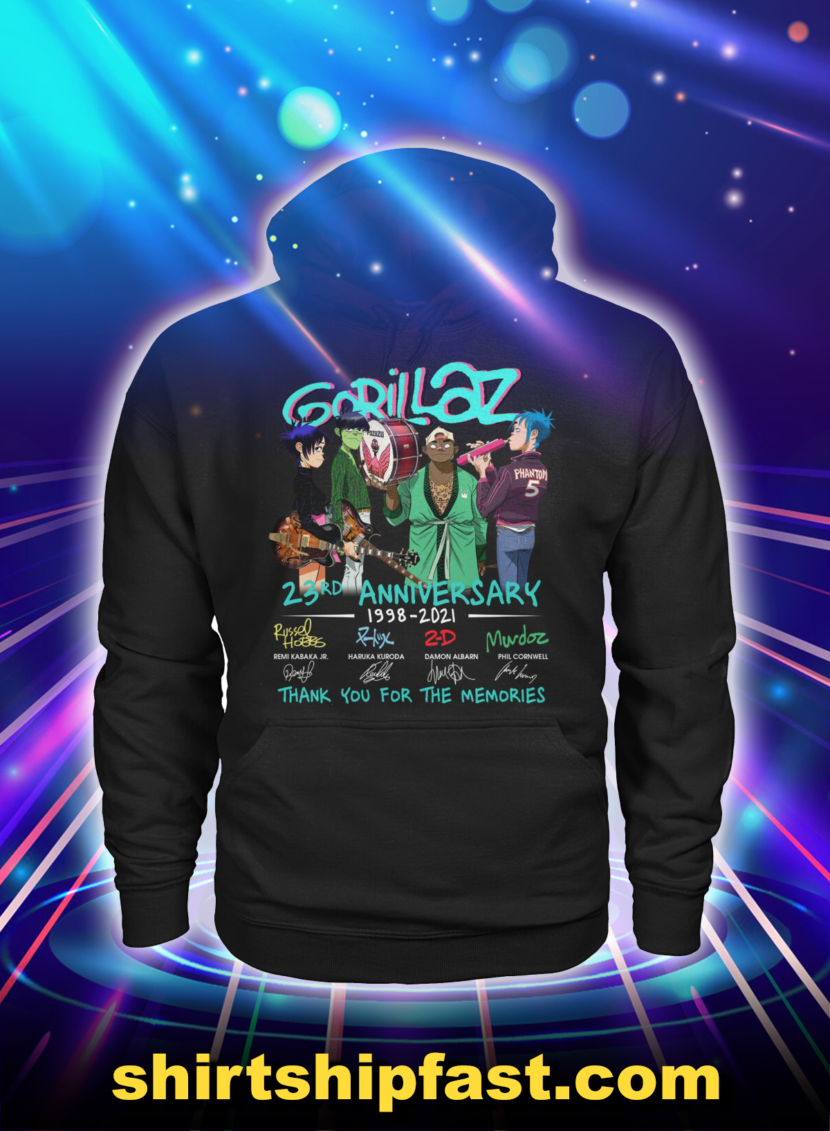 Gorillaz 23rd anniversary thank you for the memories hoodie