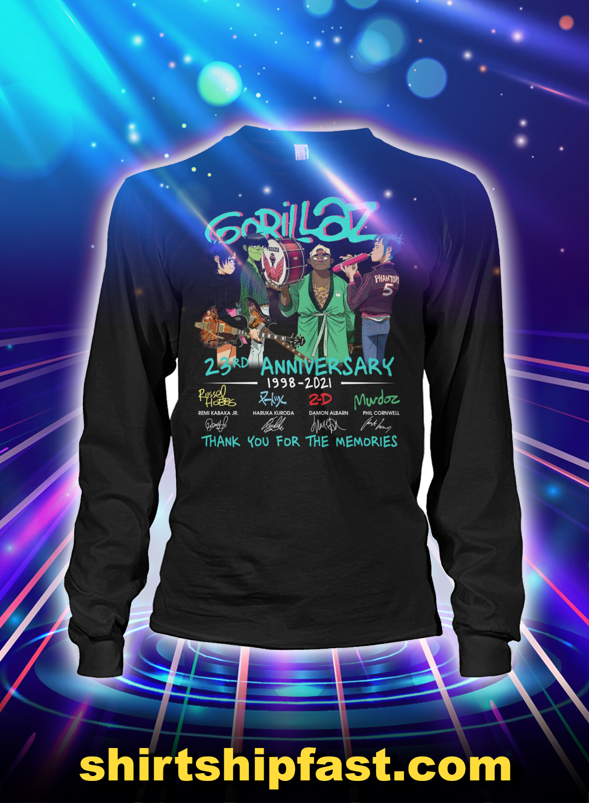 Gorillaz 23rd anniversary thank you for the memories long sleeve tee