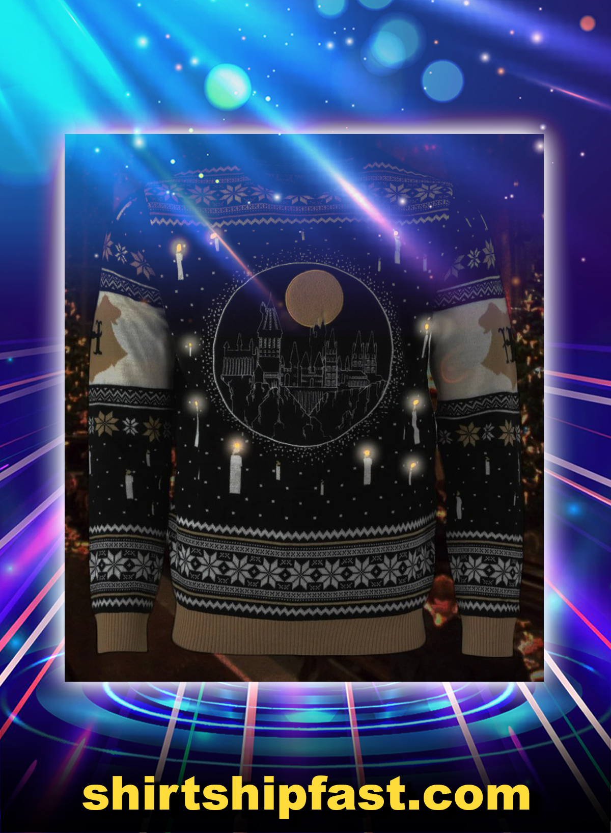 Harry potter hogwarts castle candles led ugly christmas sweater and jumper - Picture 1