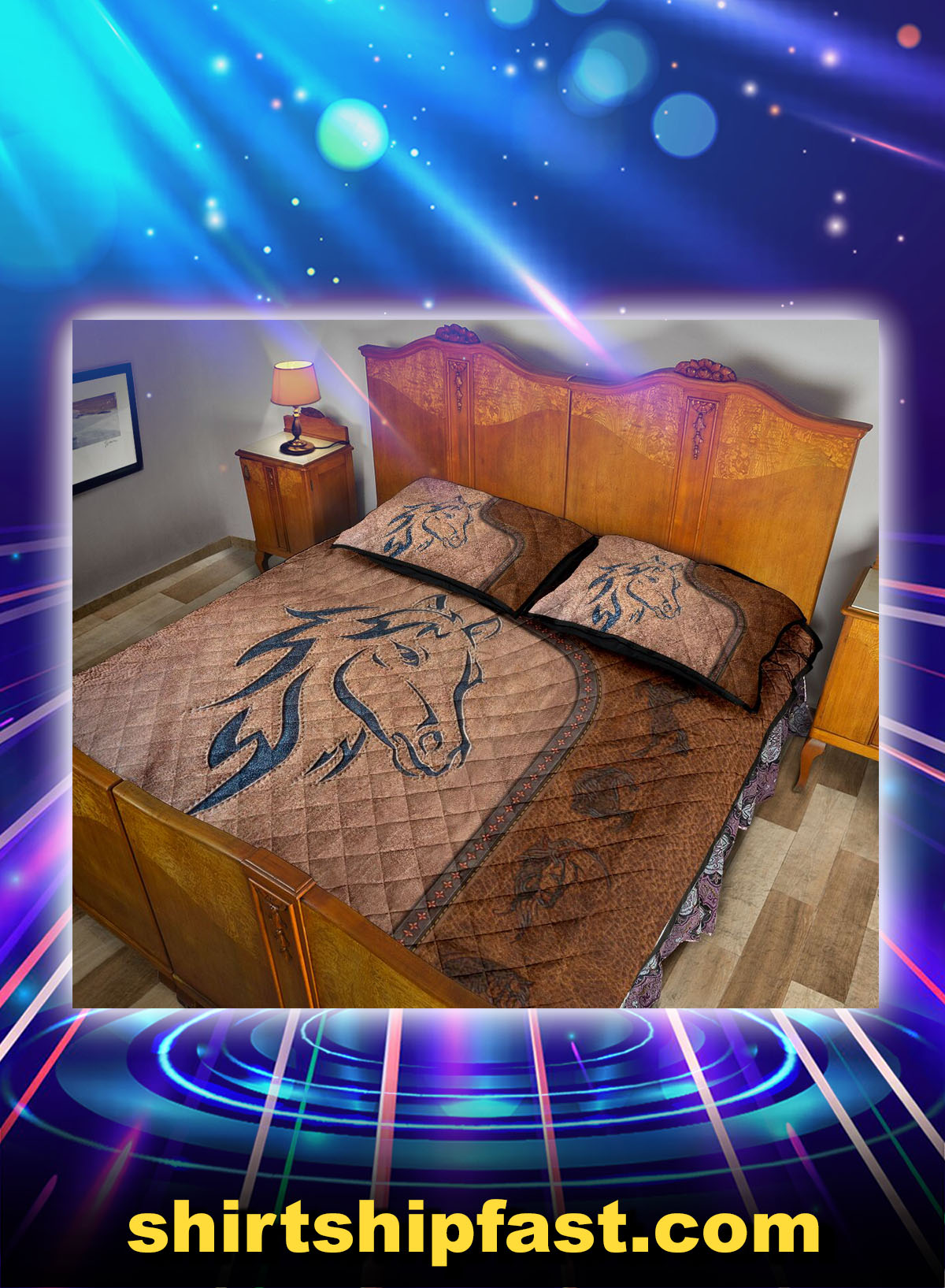 Horses leather pattern bedding set - Picture 1