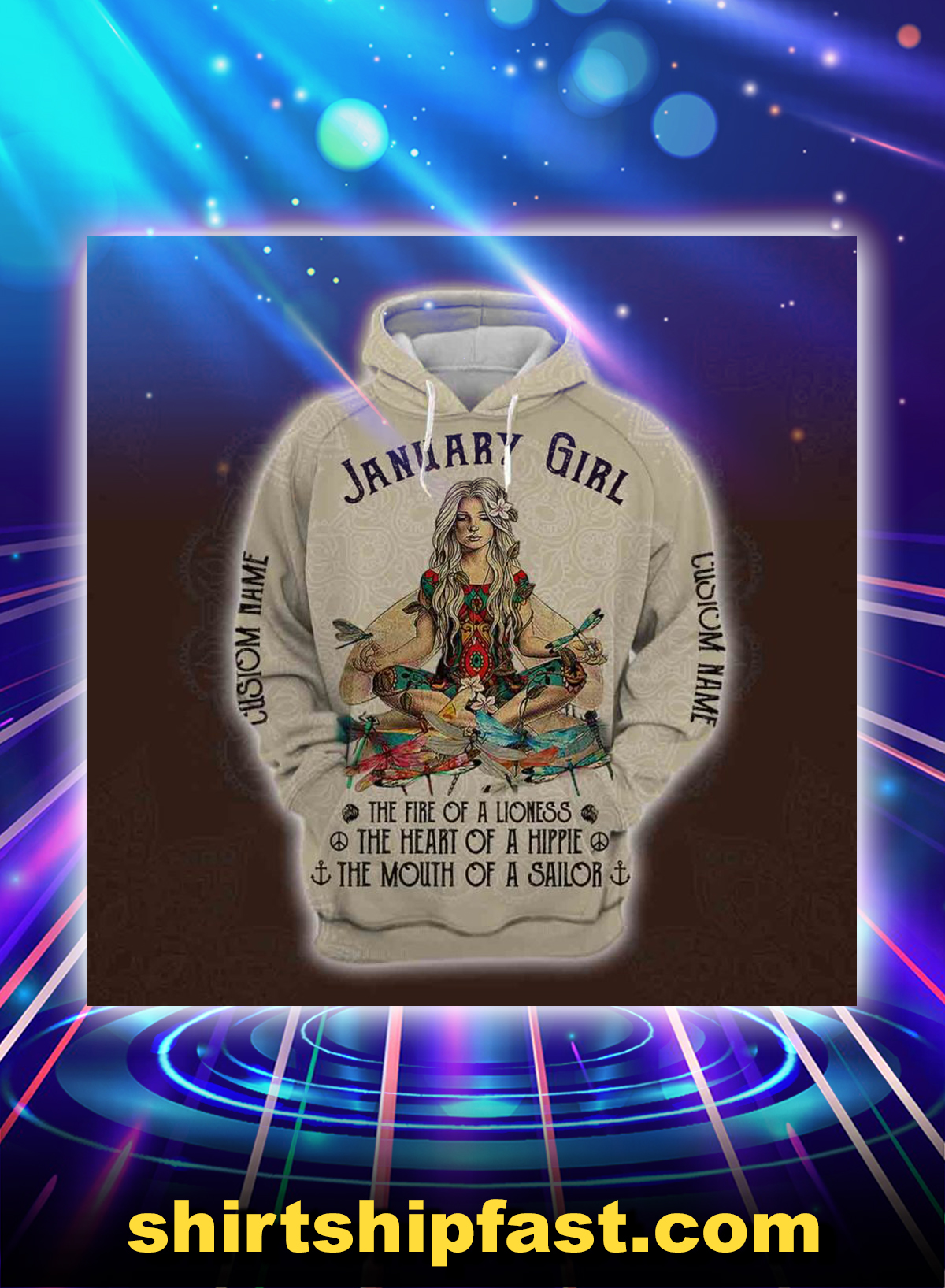 January yoga girl personalized custom name all over printed hoodie - Picture 1