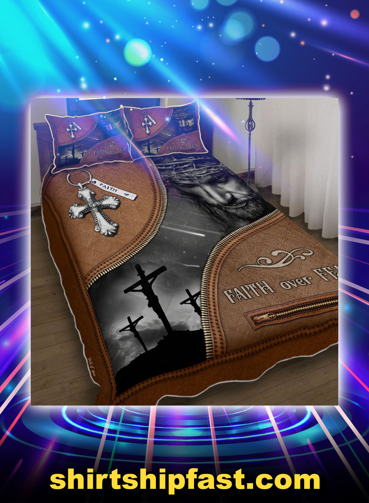 Jesus Christian faith over fear bed set - Picture 1