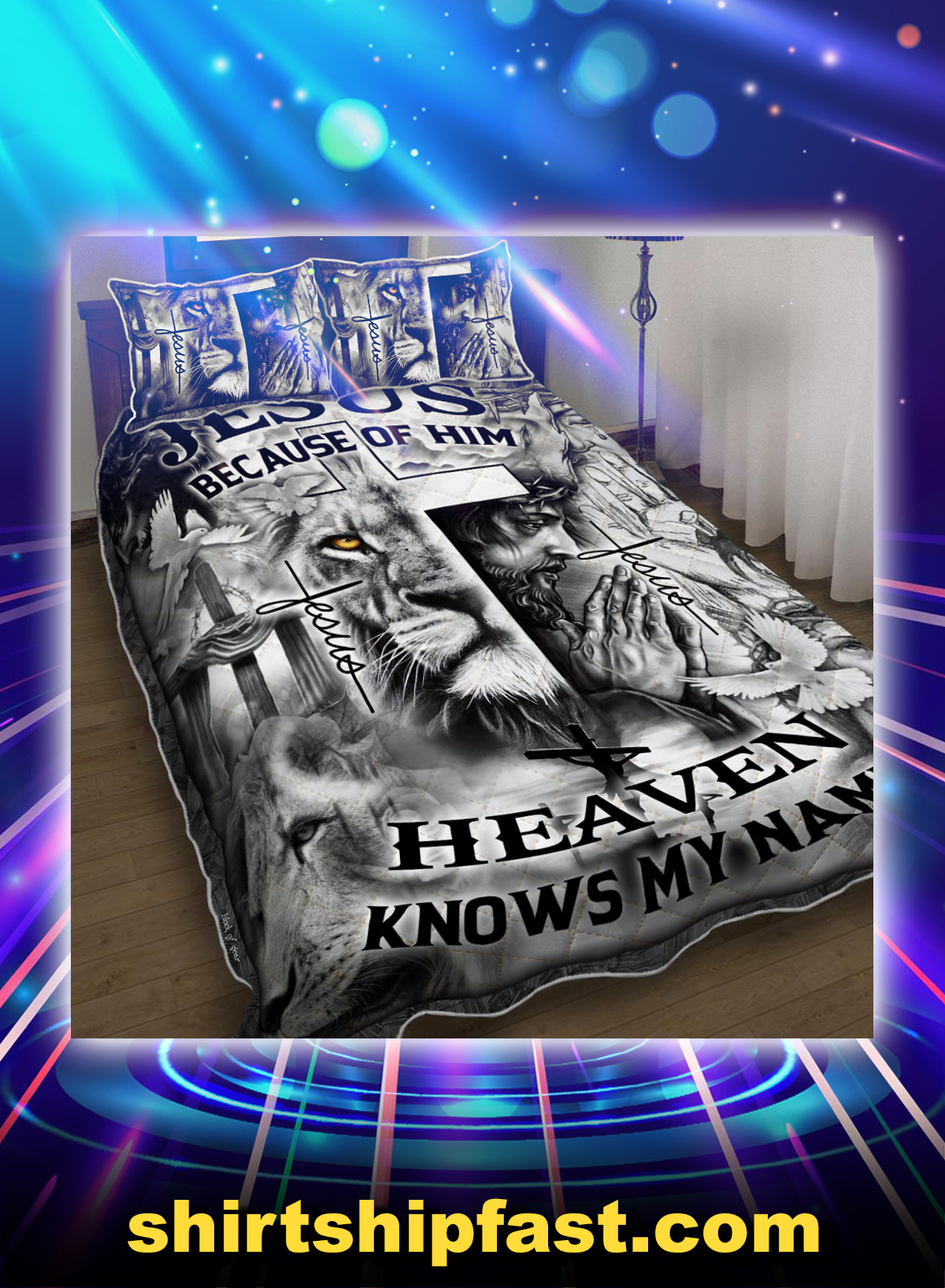 Lion jesus because of him heaven knows my name bed set - Picture 1