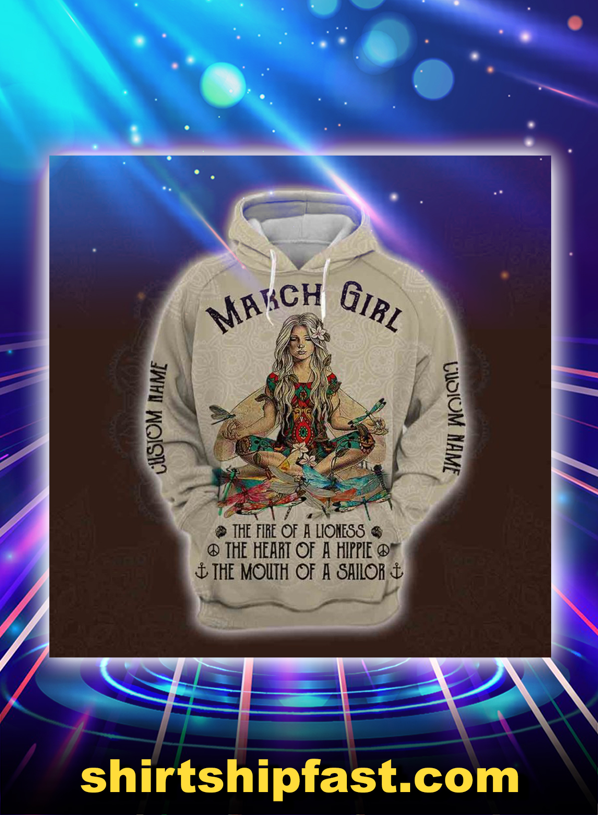 March yoga girl personalized custom name all over printed hoodie - Picture 1