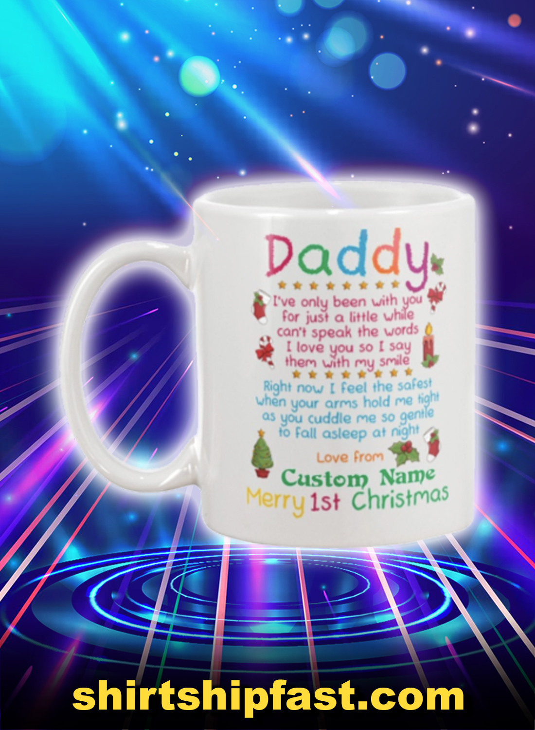 Merry 1st christmas daddy personalized custom name mug - Picture 1