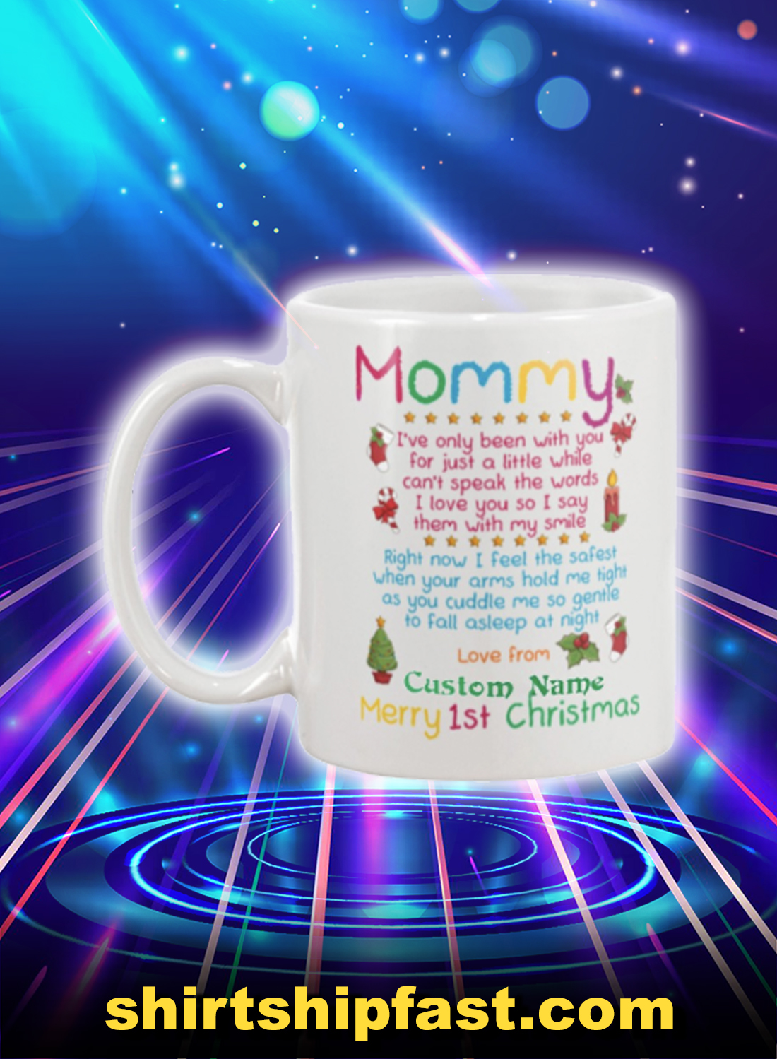 Merry 1st christmas mommy personalized custom name mug - Picture 1