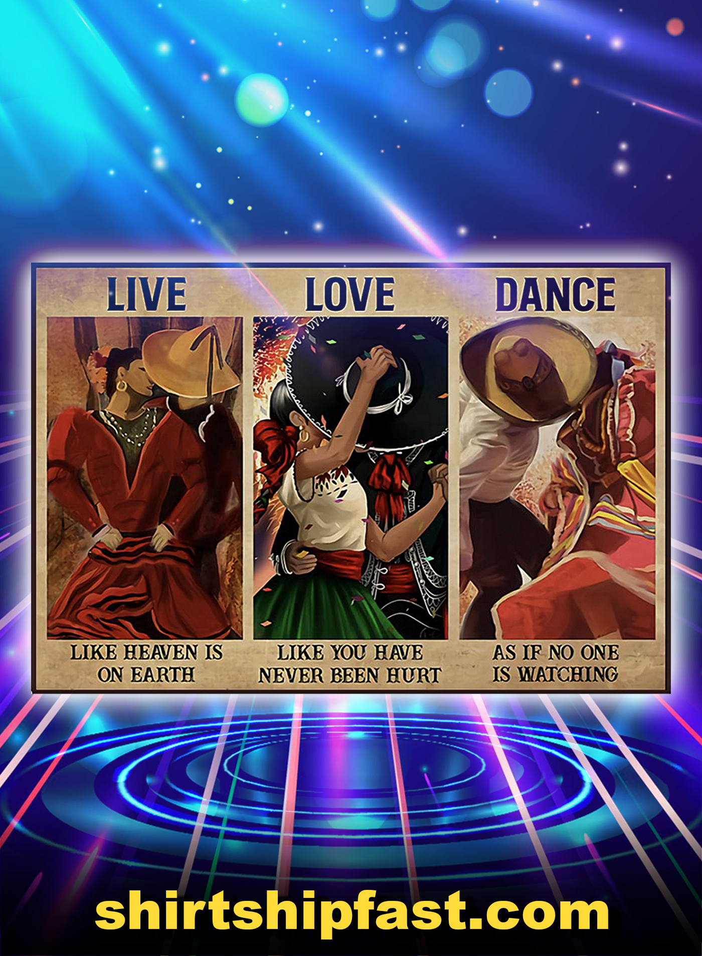 Mexican culture live love dance poster - A1