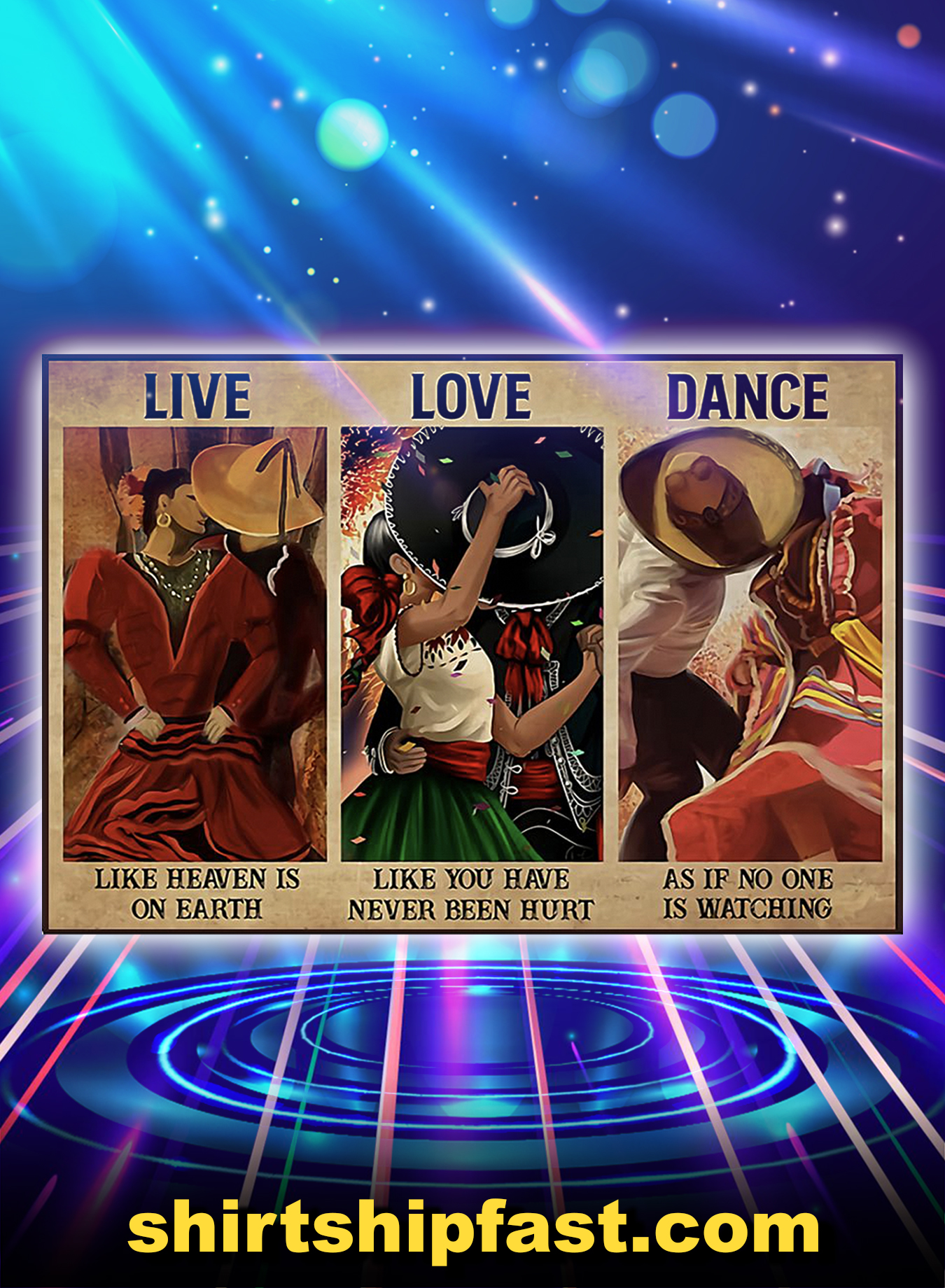 Mexican culture live love dance poster - A3