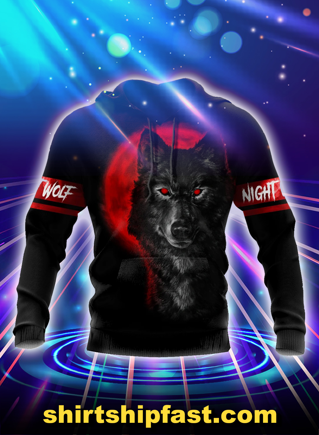 Night Wolf 3d all over printed hoodie