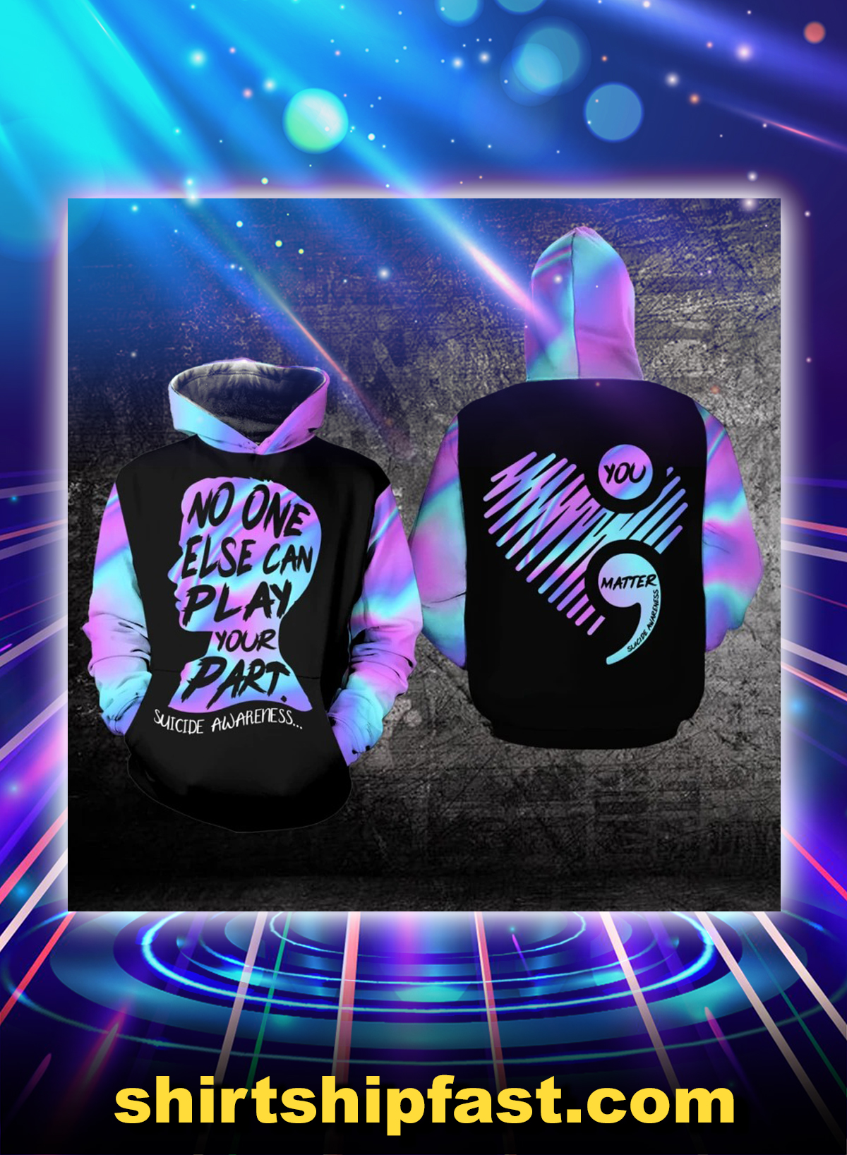 No one else can play your part suicide awareness all over prints hoodie - Picture 1