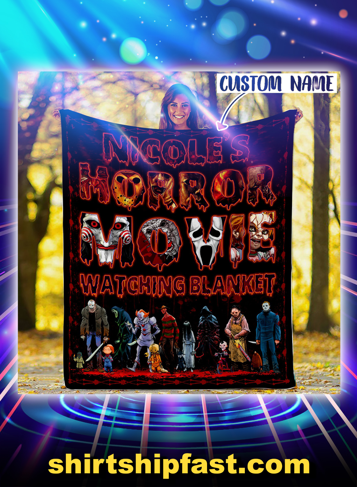 Personalized custom name Horror movie watching blanket - Picture 1