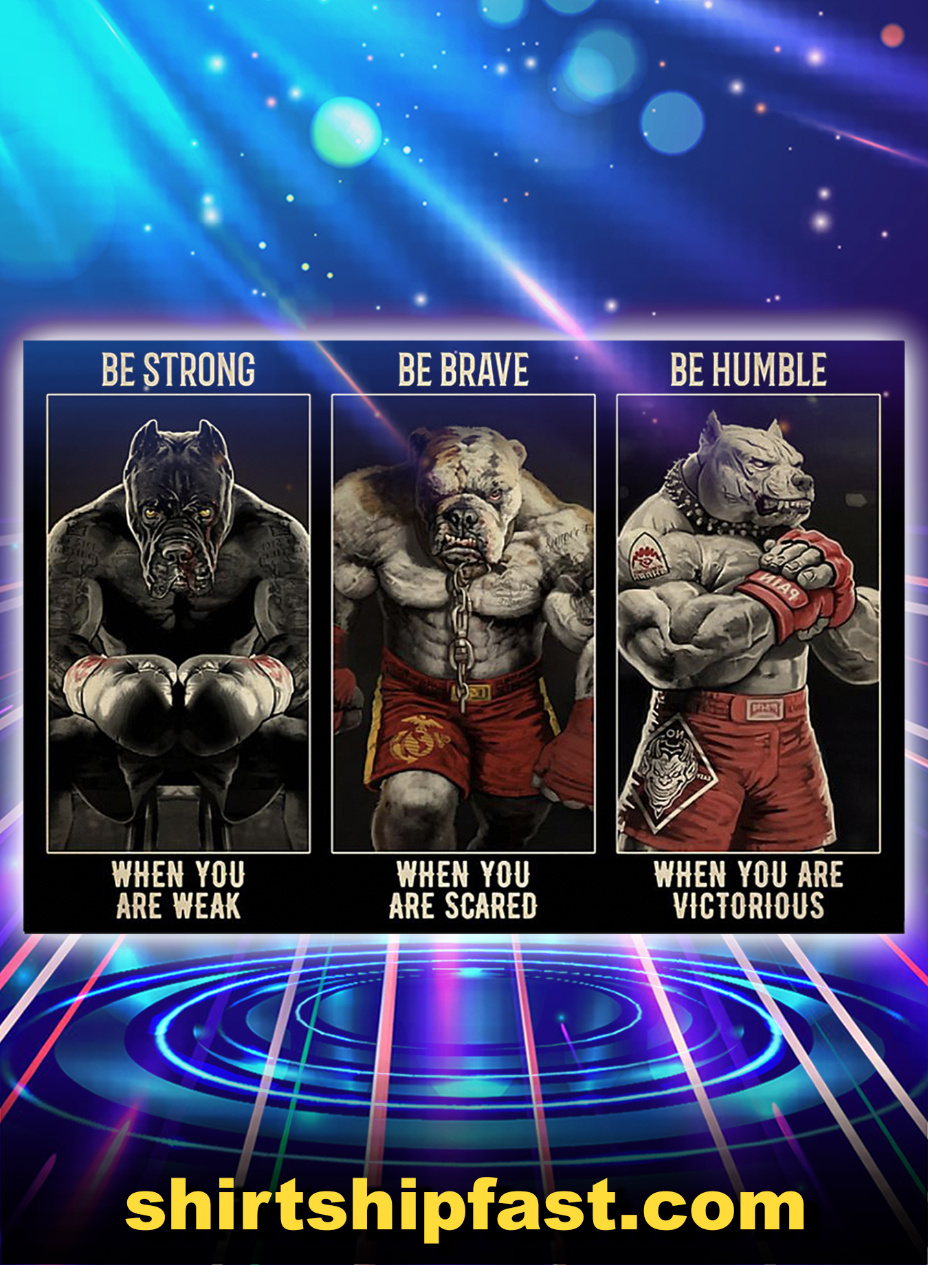 Pitbull boxing be strong be brave be humble poster - A3
