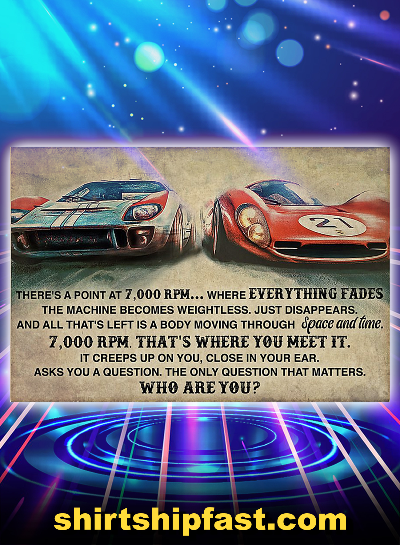 Poster Car racing there's a point at 7000 RPM - A1