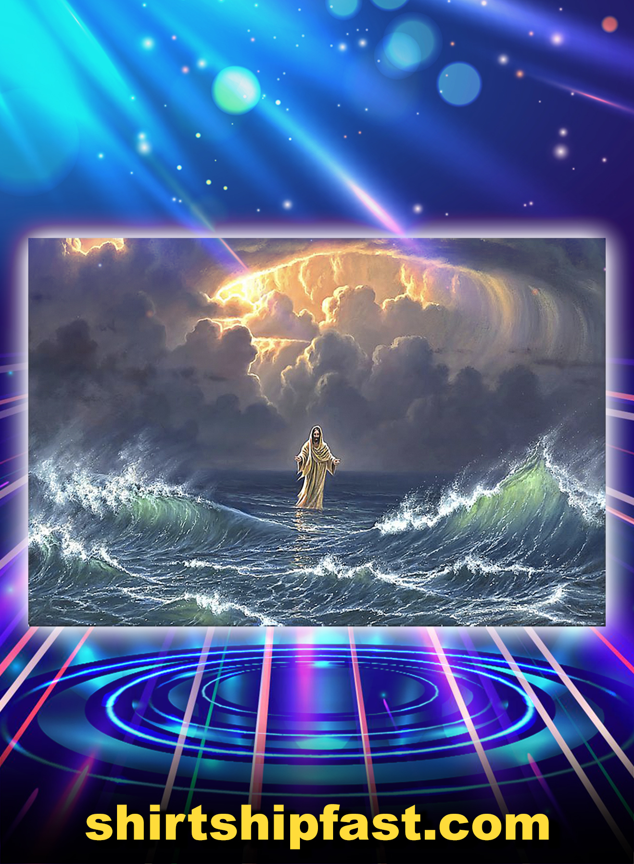 Poster In the storm Jesus walked on the water - A1