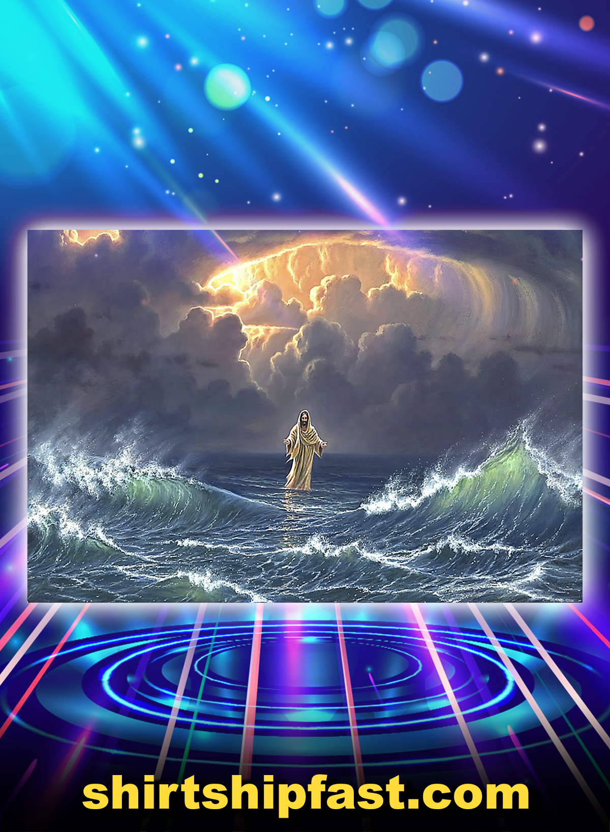 Poster In the storm Jesus walked on the water - A4