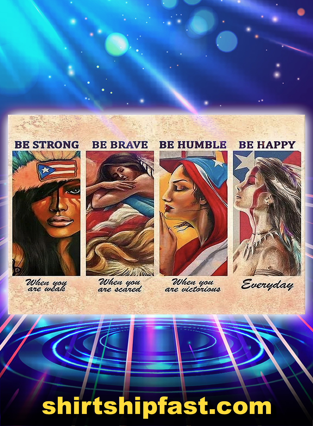 Puerto rico girls be strong be brave be humble be happy poster and canvas prints