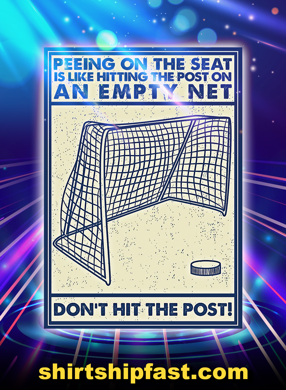 Retro Hockey don't hit the post poster - A4