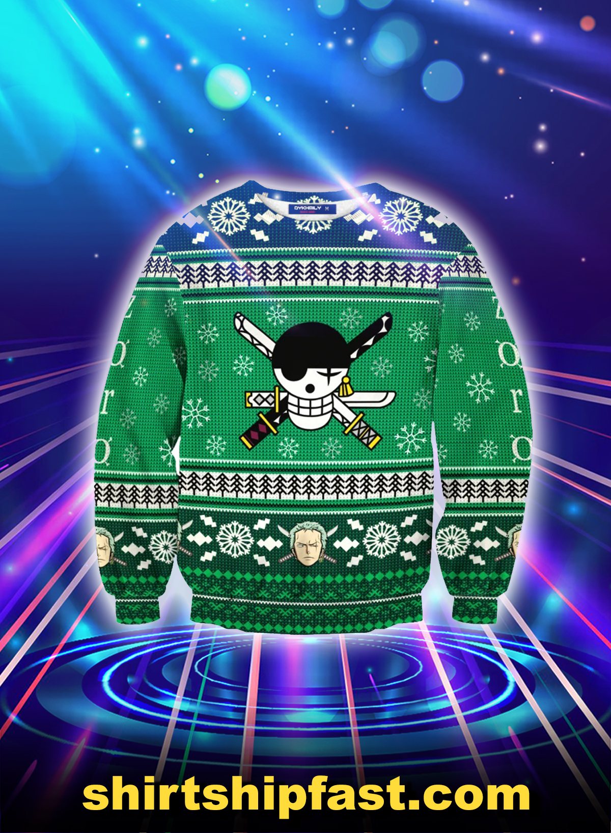 Roronoa Zoro One piece ugly christmas sweater - Picture 1
