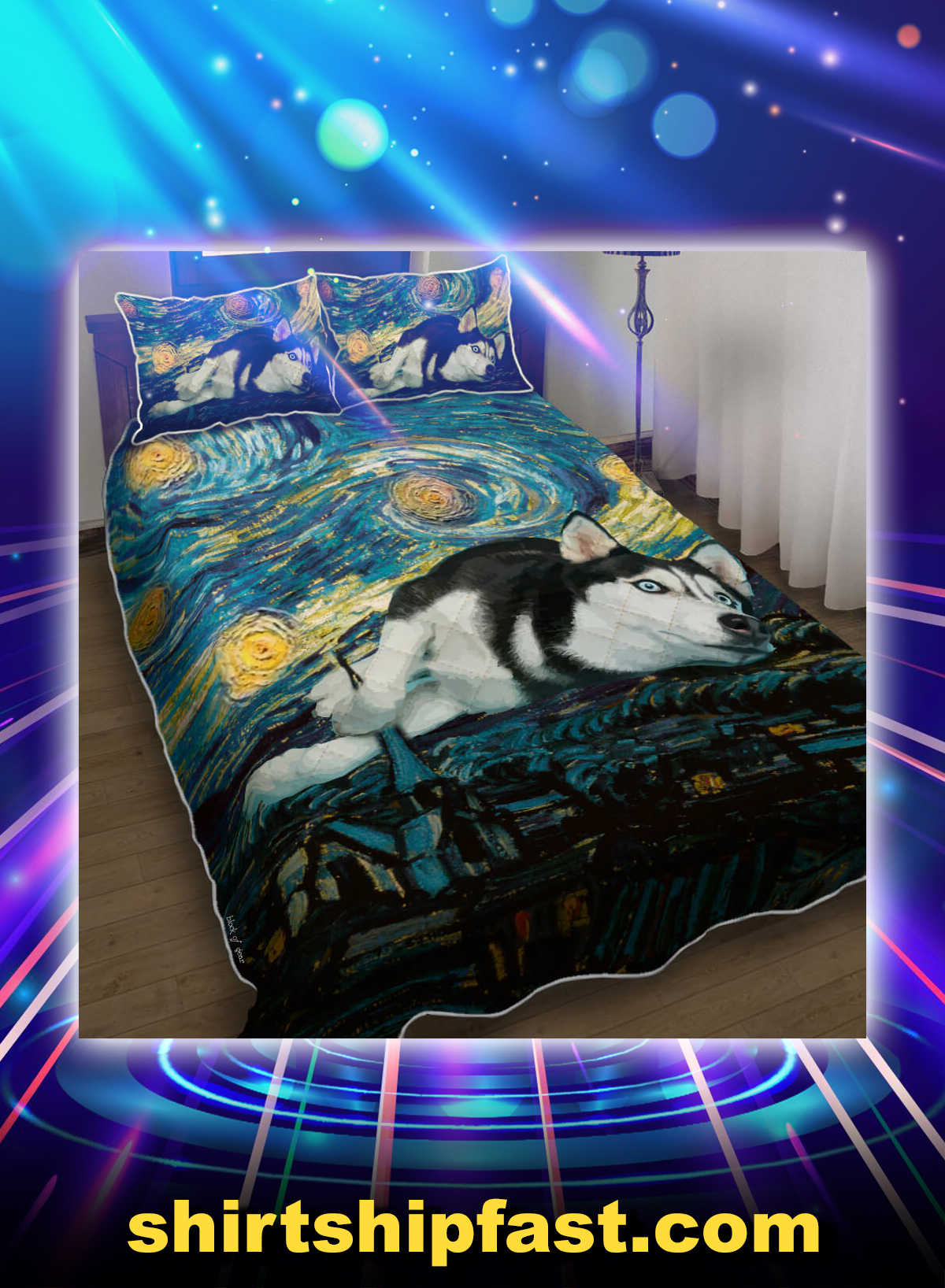 Siberian husky starry night bed set - Picture 1