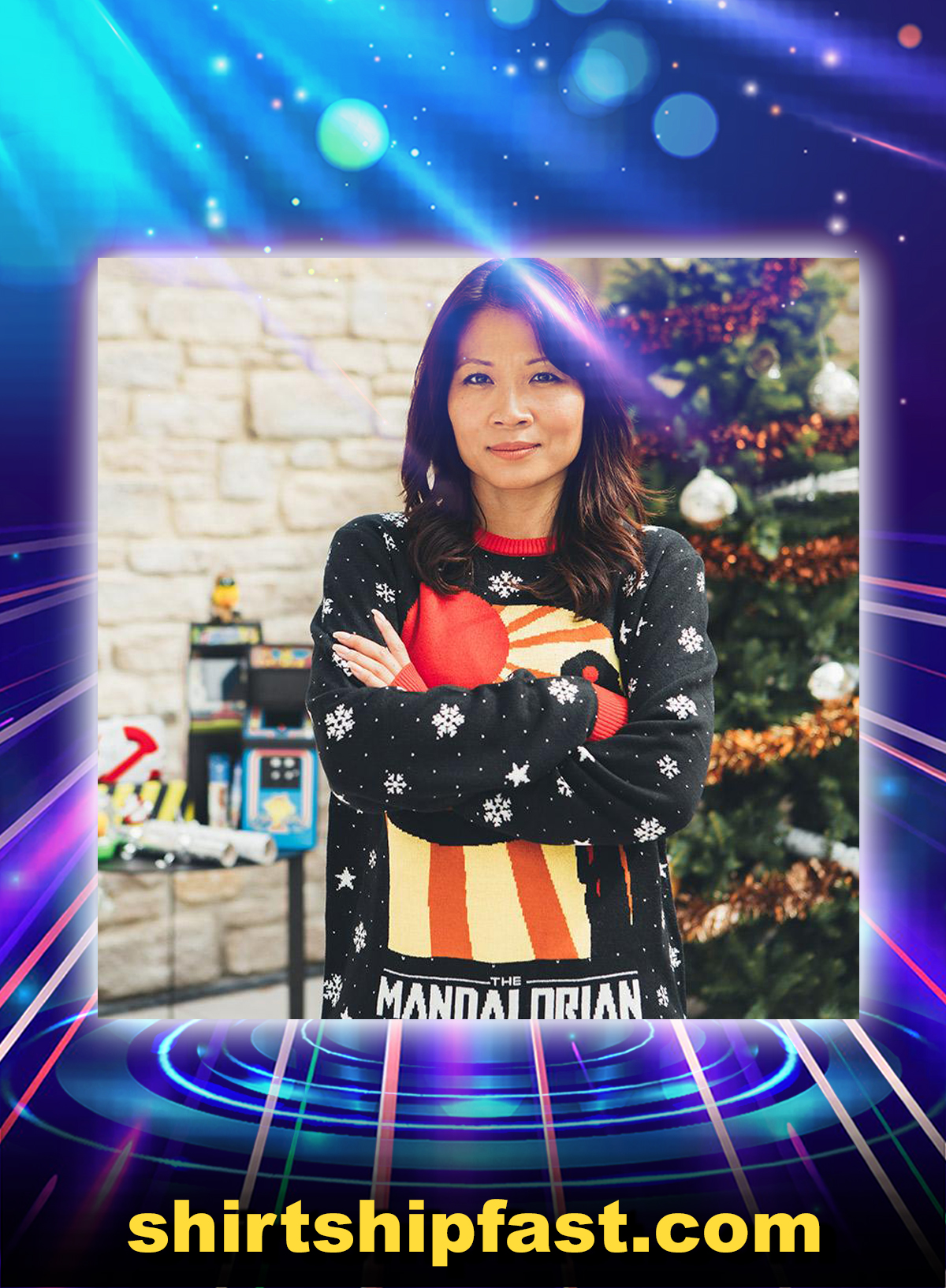 Star wars the mandalorian ugly christmas jumper and sweater - Picture 1