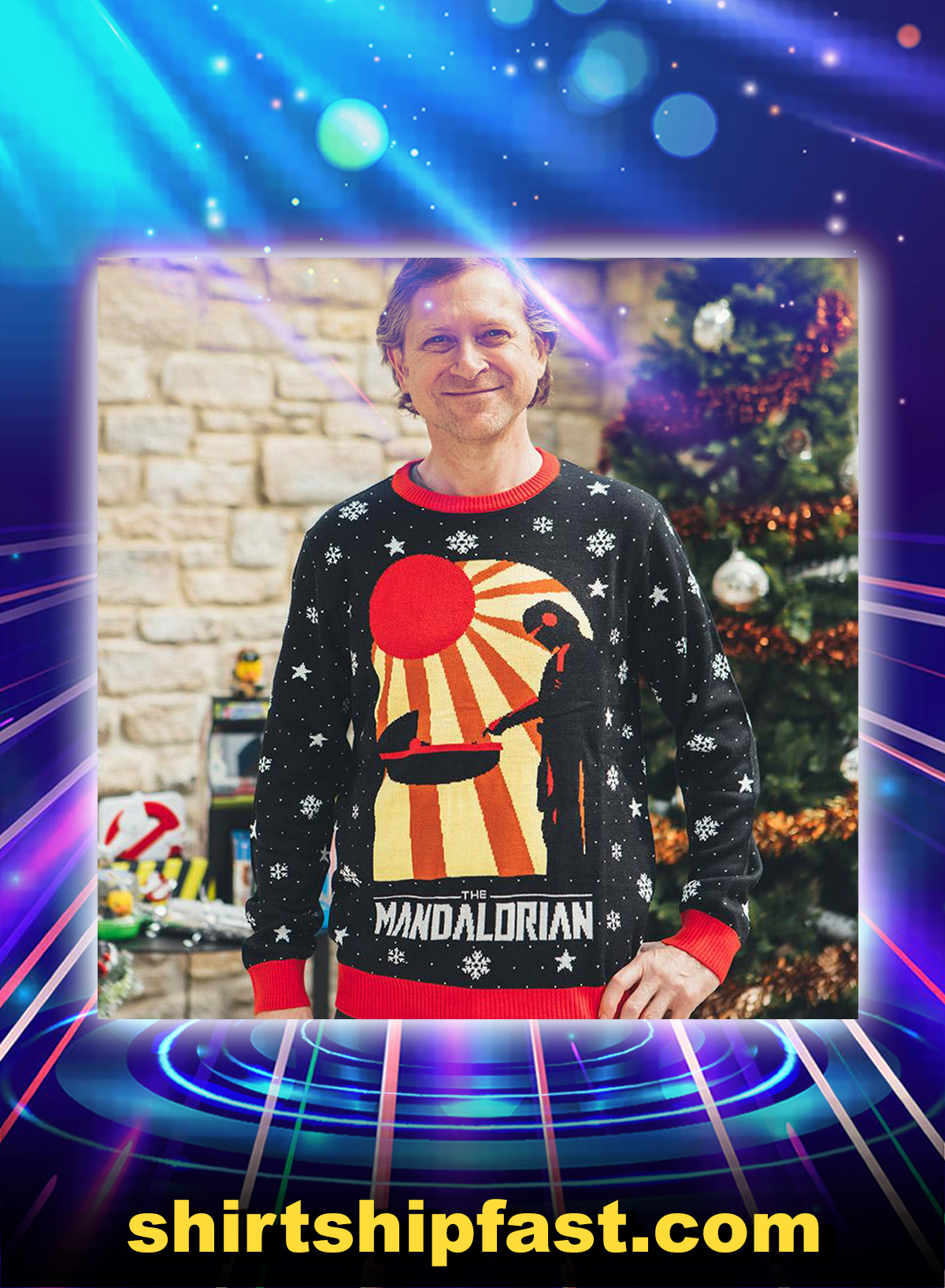 Star wars the mandalorian ugly christmas sweater and jumper - Picture 1