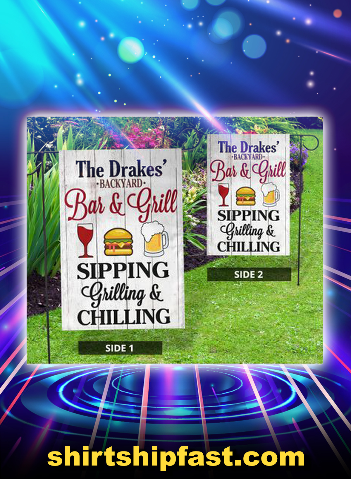 The Drakes' backyard bar and grill sipping grilling and chilling flag