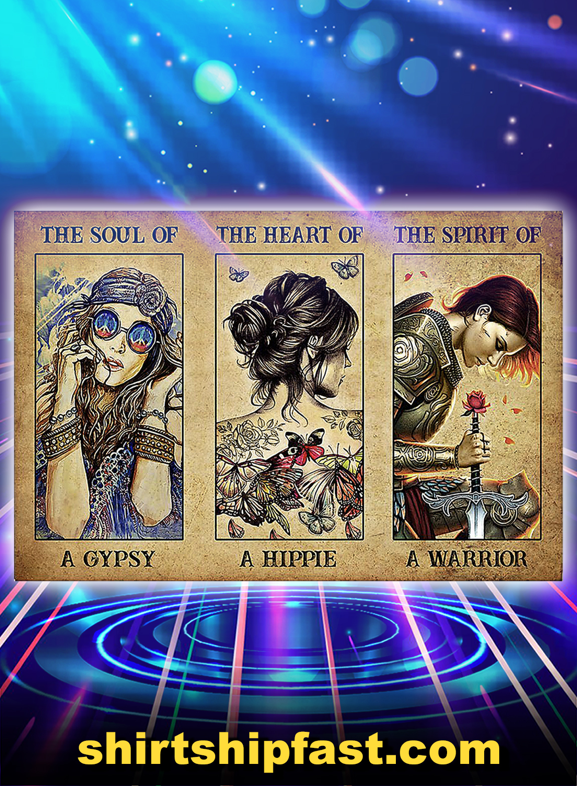 The soul of a gypsy the heart of a hippie poster - A3