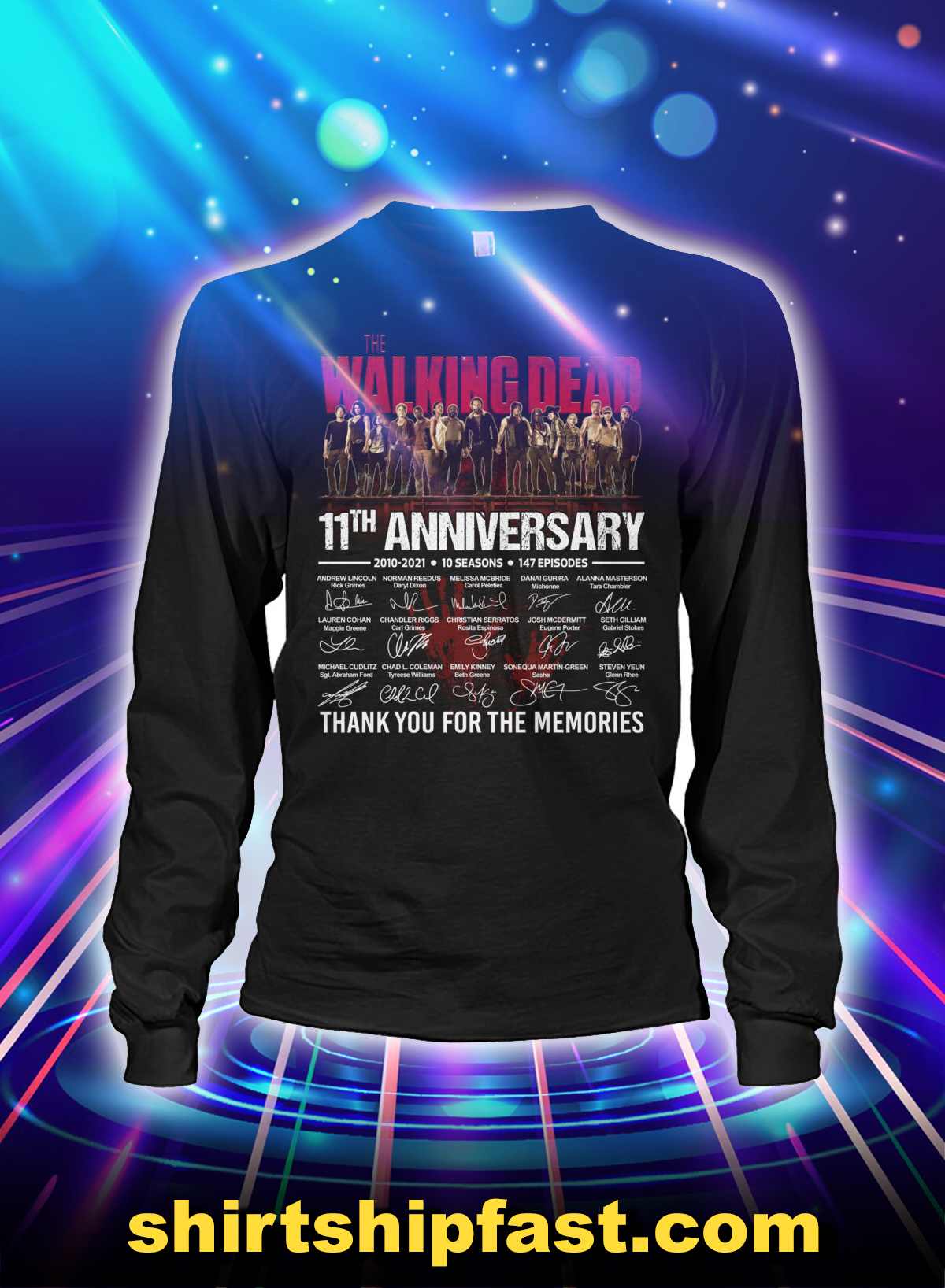 The walking dead 11th anniversary thank you for the memories long sleeve tee