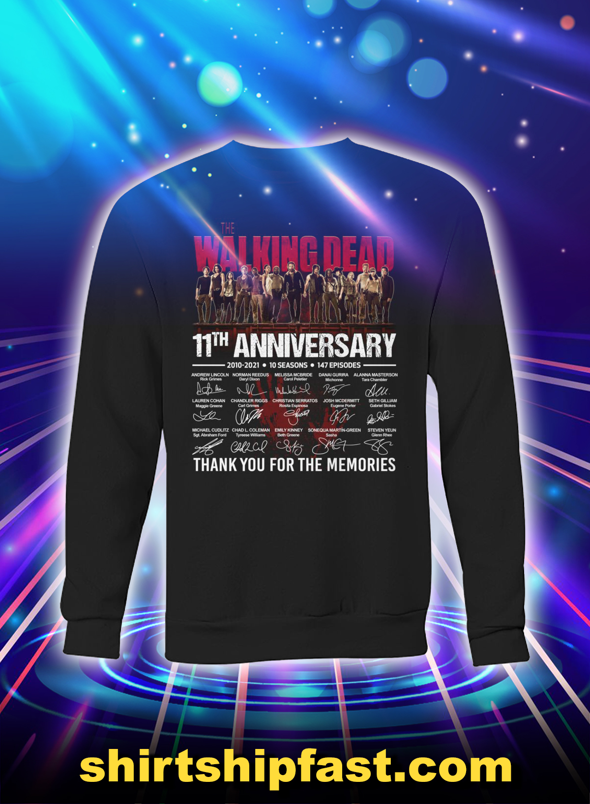 The walking dead 11th anniversary thank you for the memories sweatshirt