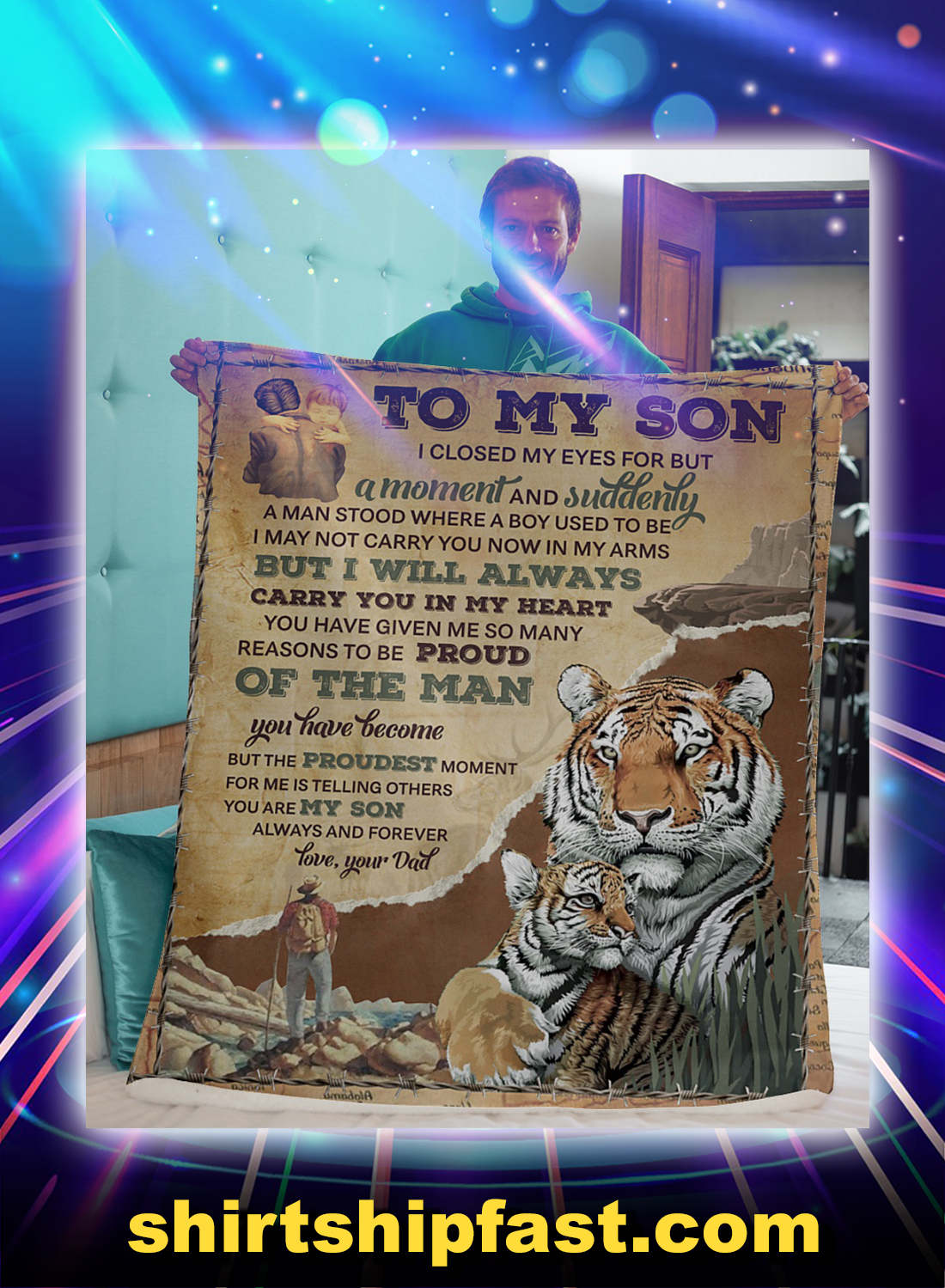 Tiger to my son love your dad blanket
