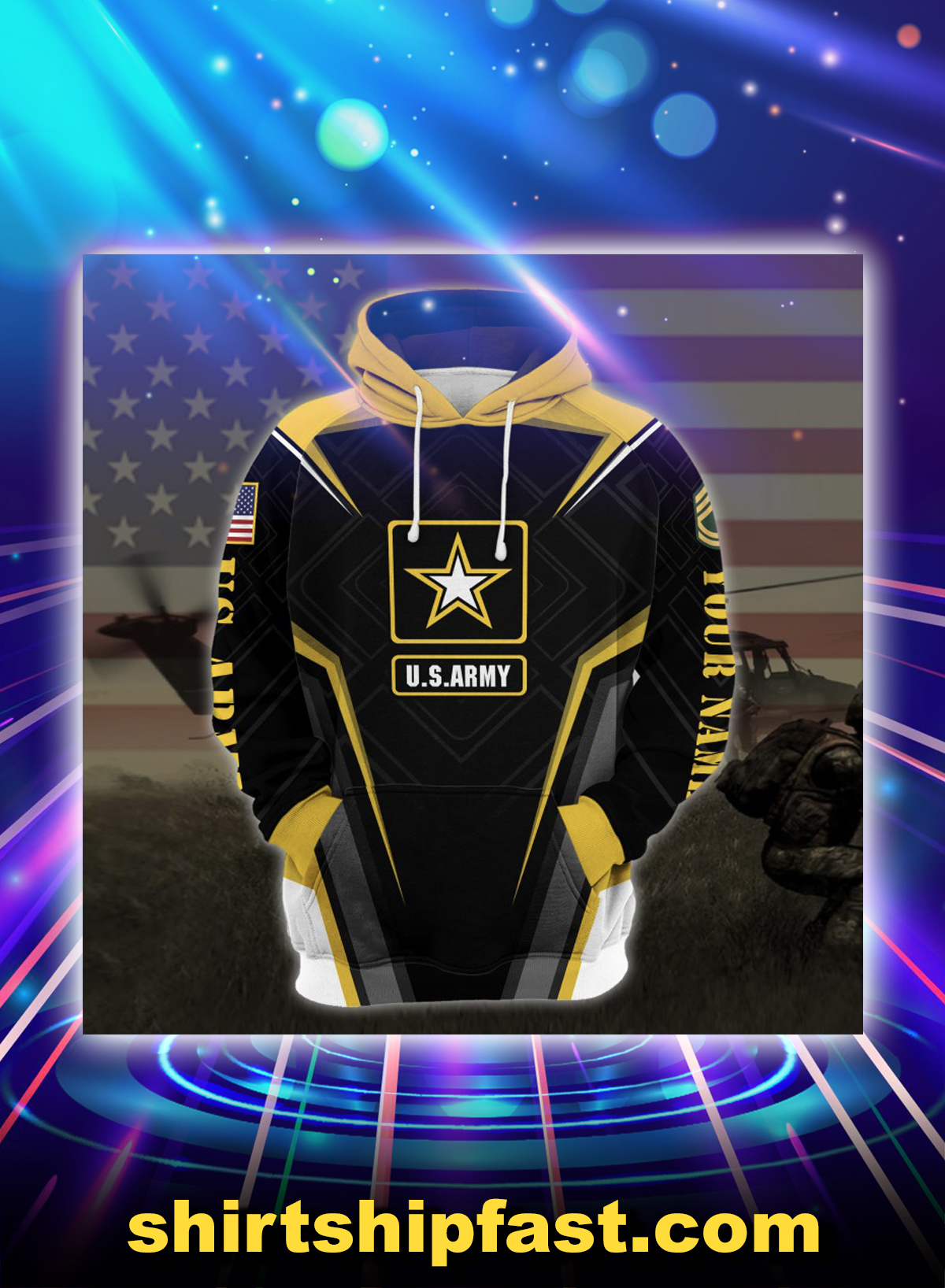 US army veteran all over printed hoodie - Picture 1