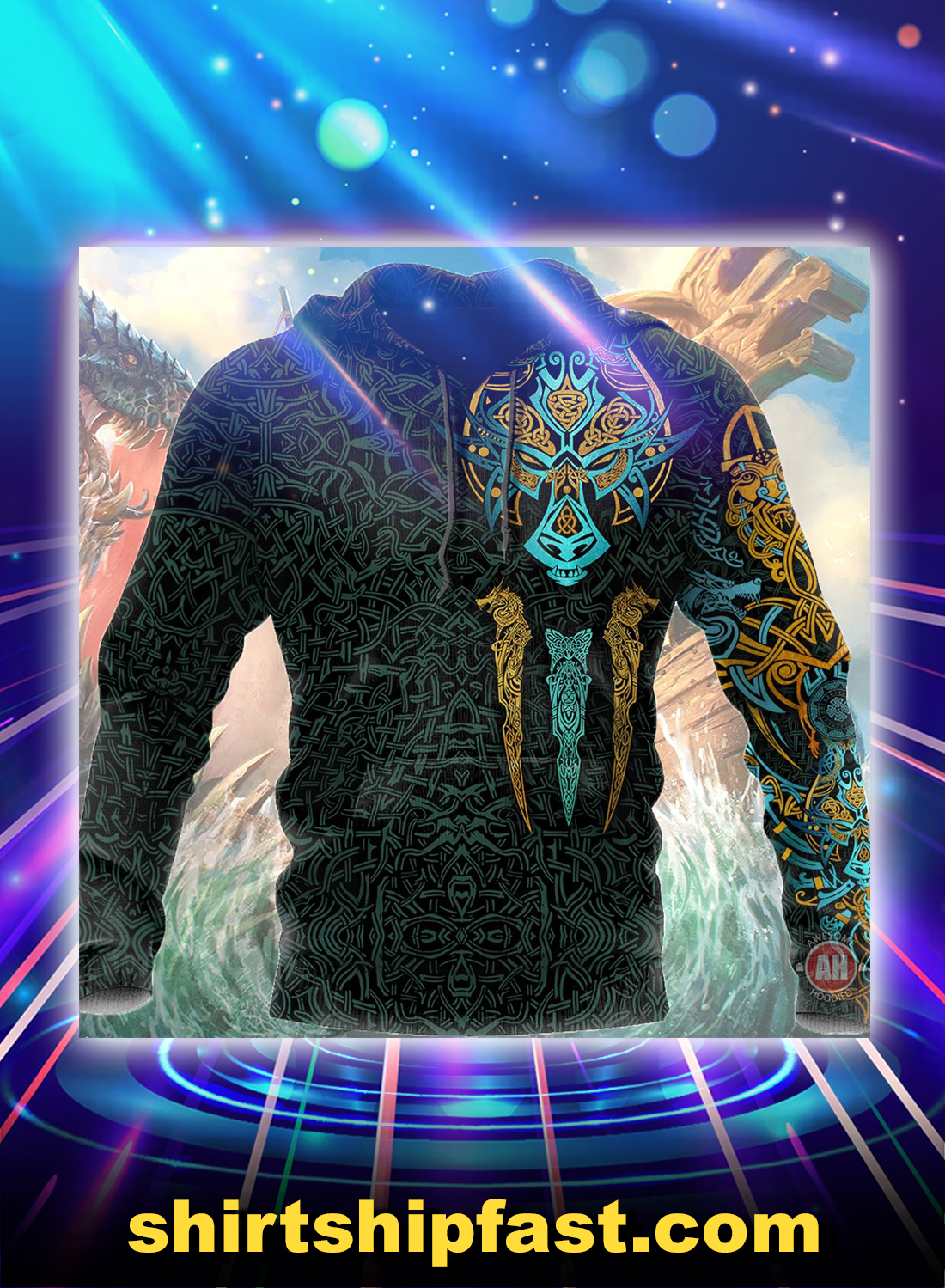 Viking fenrir all over printed hoodie - Picture 1