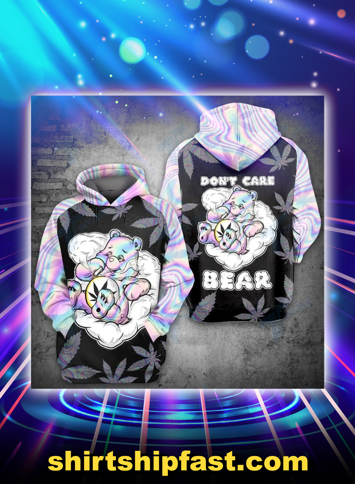 We don't care bear all over printed hoodie - Picture 1