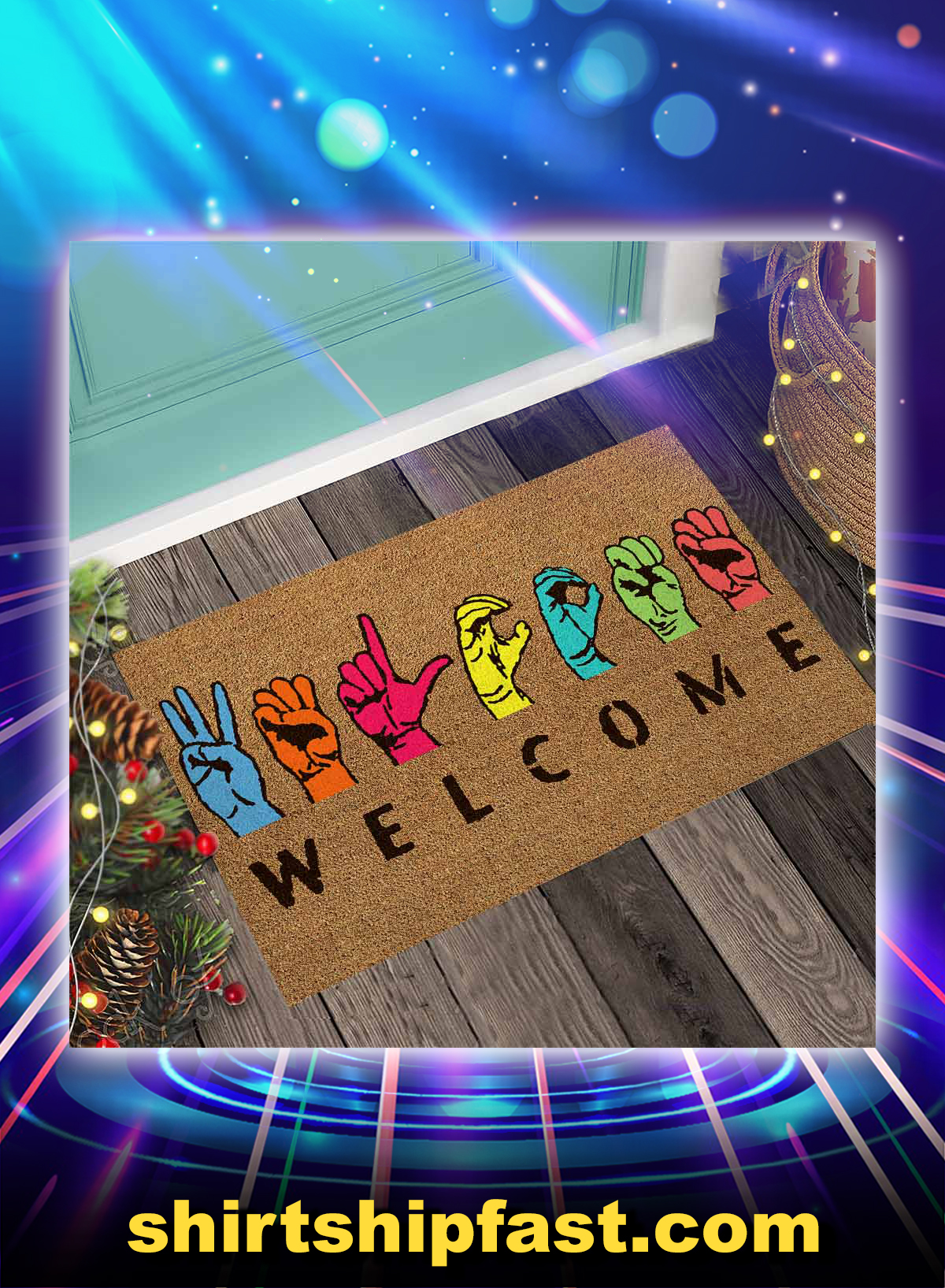 Welcome american sign language doormat - Picture 1