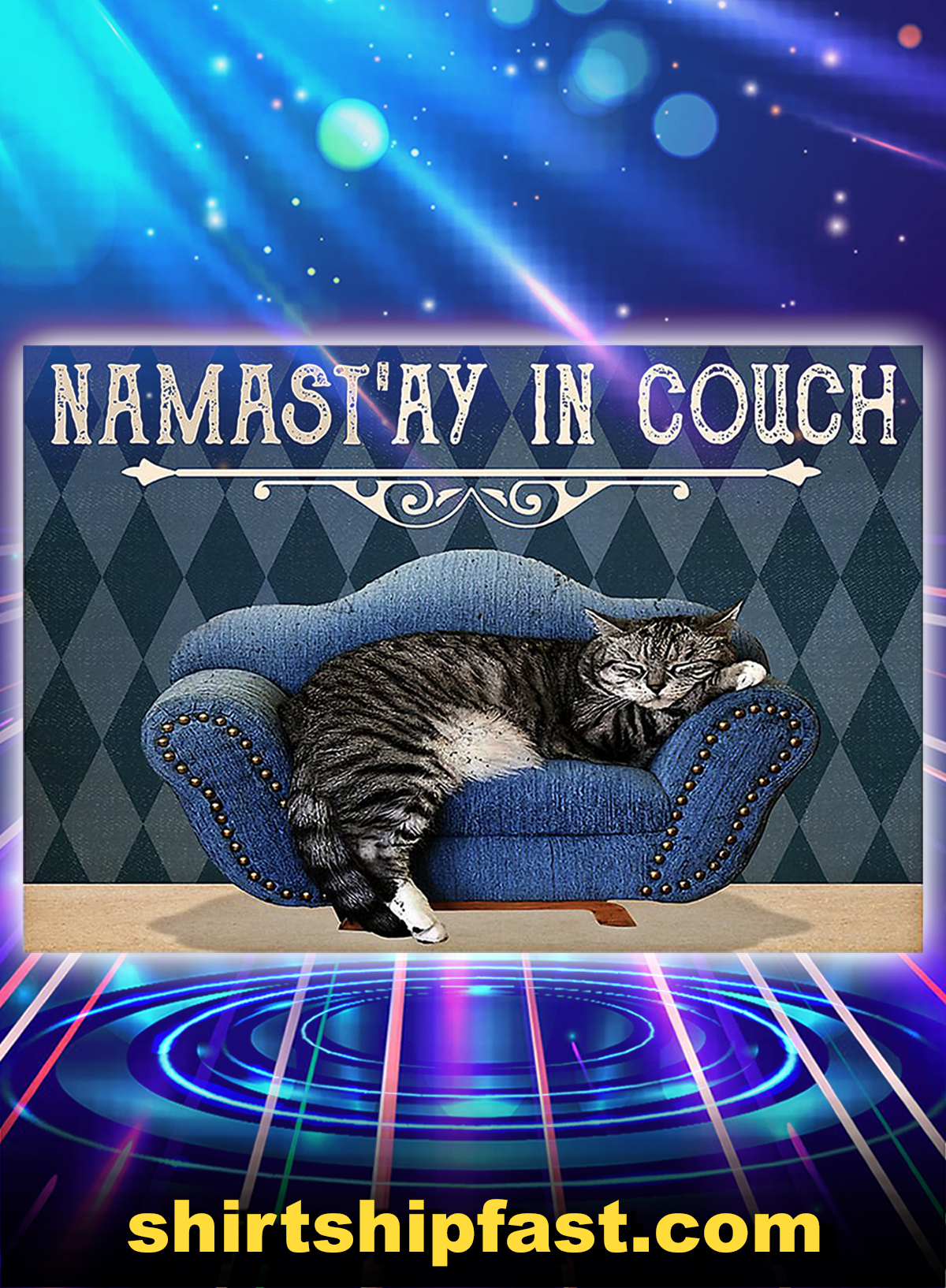 Yoga cat namast'ay in couch poster - A1