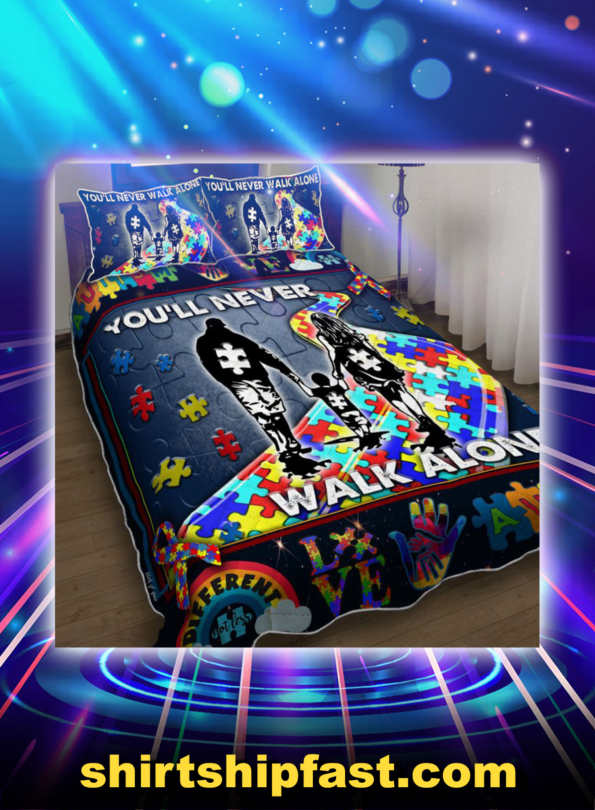 You'll never walk alone autism bedding set - Picture 1