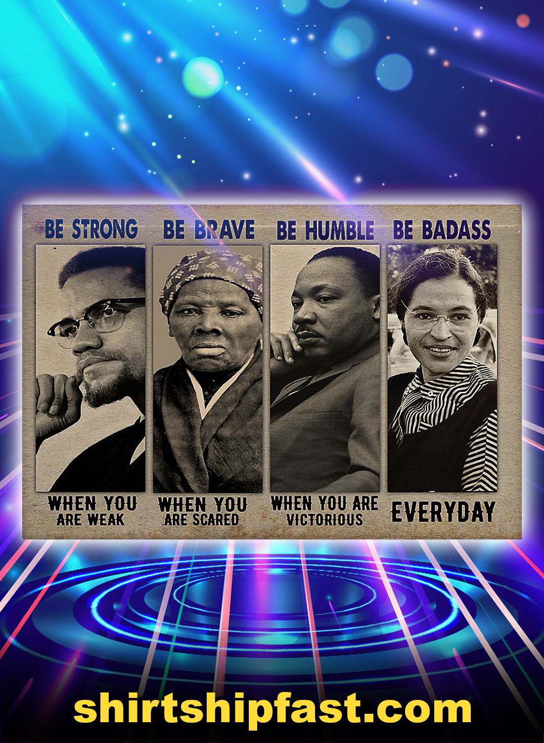 Black and Boujee be strong be brave be humble be badass poster - A4