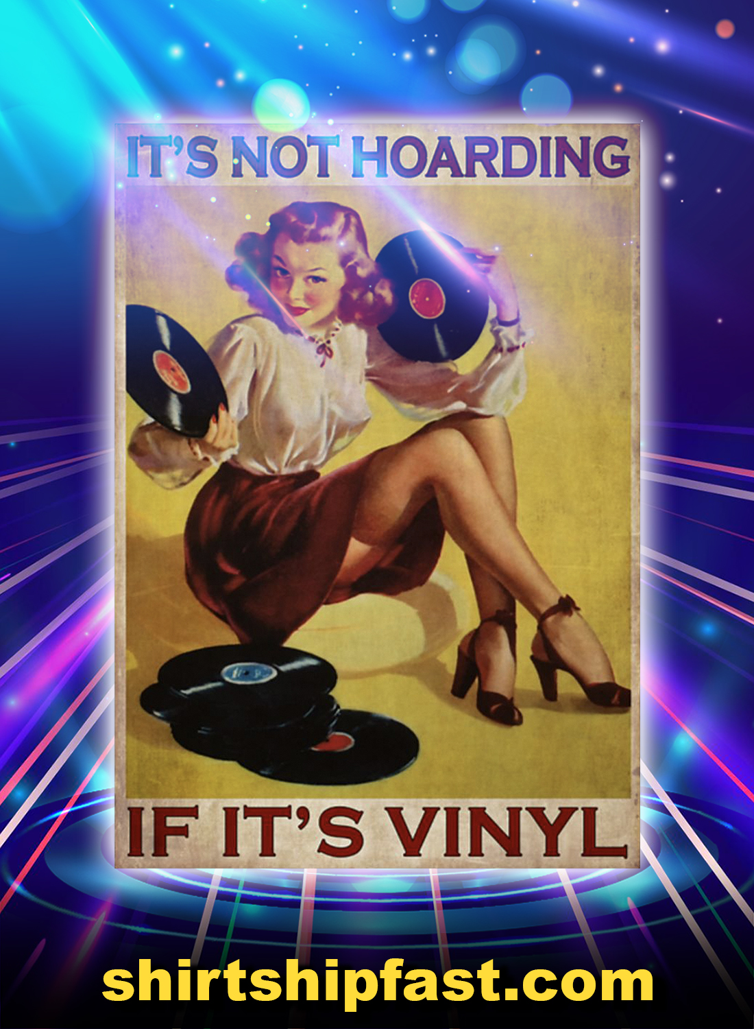 Blonde girl It's not hoarding if it's vinyl poster - A4