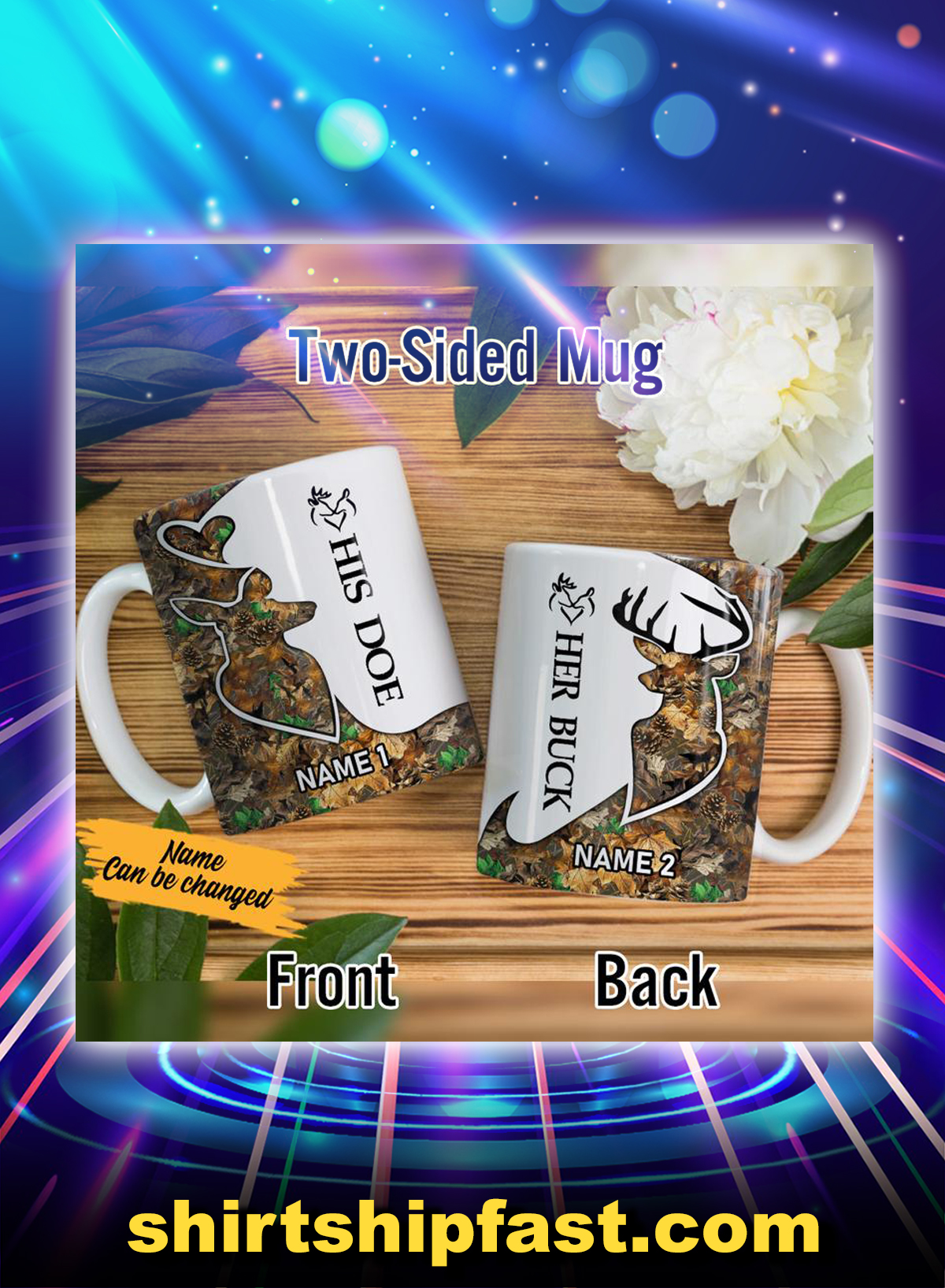 Deer hunting his boe her buck couple personalized custom name mug - Picture 1