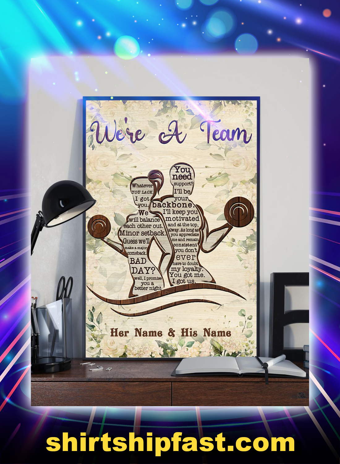 Fitness we're a team personalized custom name poster - Picture 1